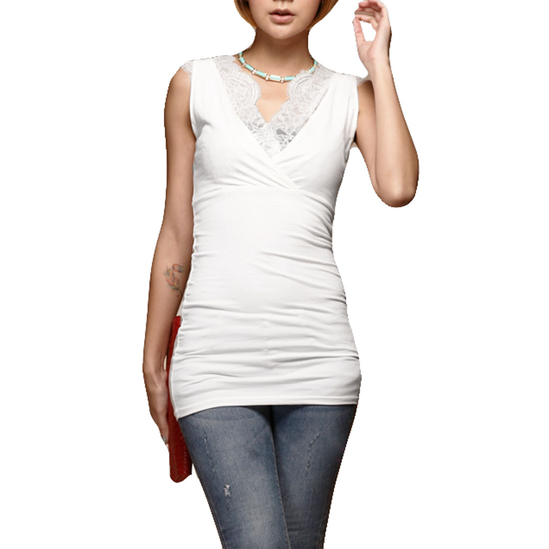 Women Summer Charming Sleeveless Double V Neck Top Vest White XS