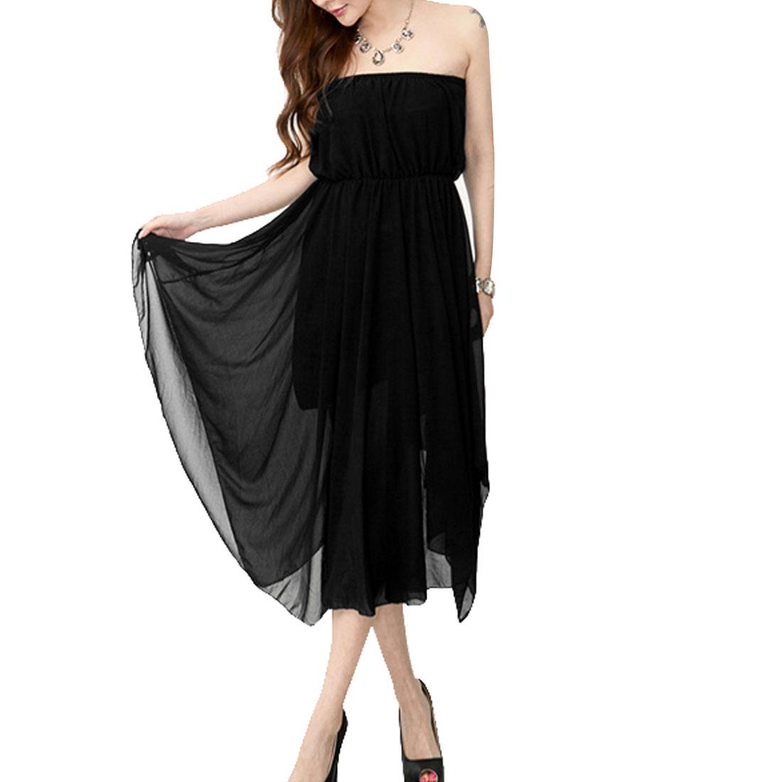 Women Sleeveless Elastic Waist Irregular Hem Tube Dress Black XS