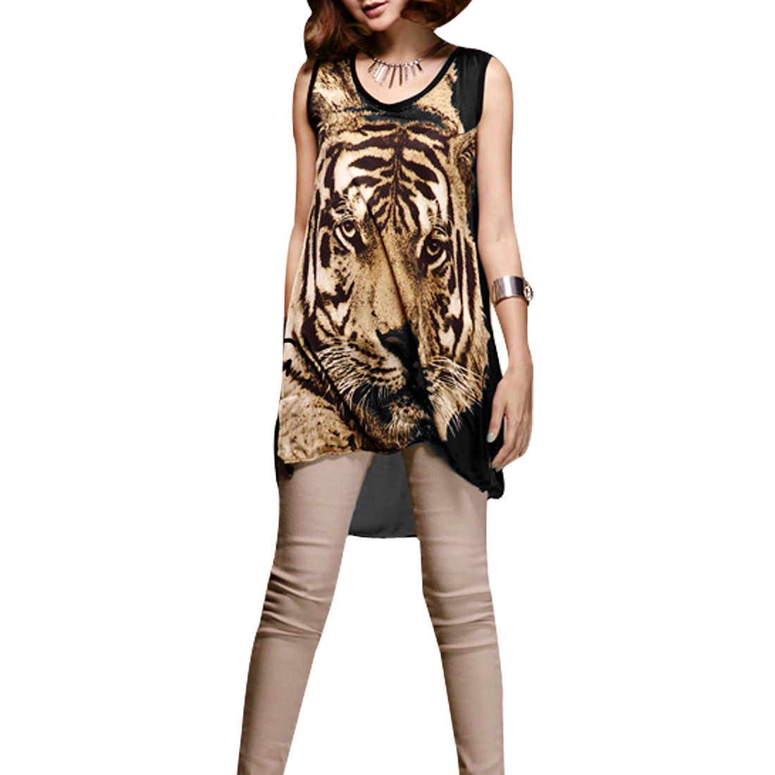 Round Neck Sleeveless Tiger Print Tunic Top Blouse Black Brown XS for Women