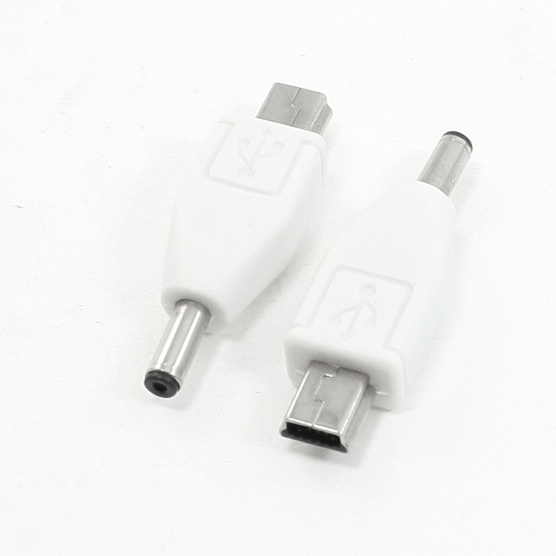 2Pcs B Type Mini USB Male to DC 3.5mm Male Charger Adapter Connector