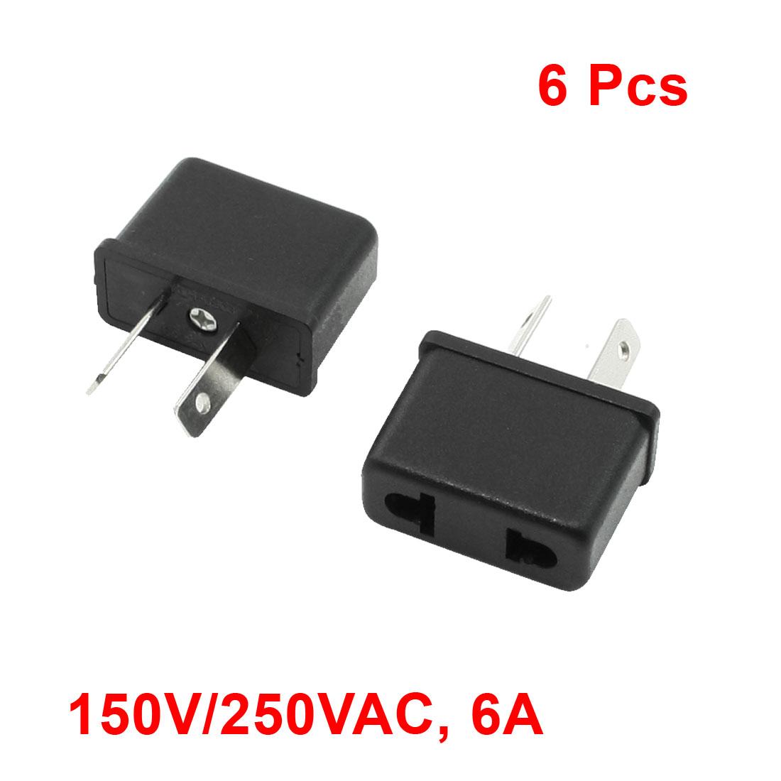 AU Plug to EU US Socket Travel Adapter Convertor AC 125V/250V 6A 6 Pcs