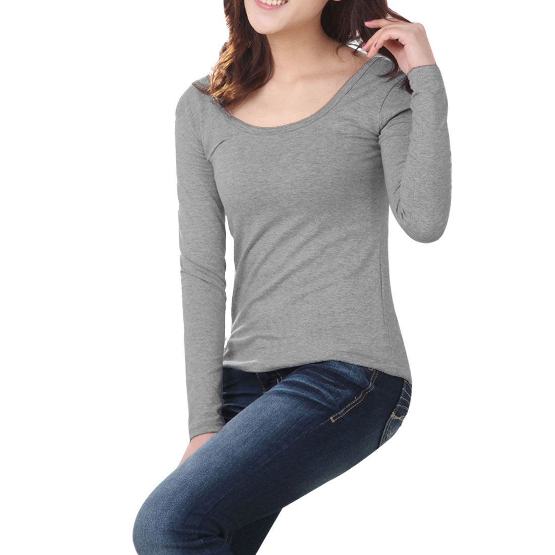 Ladies Autumn Long Sleeves Pure Gray Closefitting Top T-Shirt XS