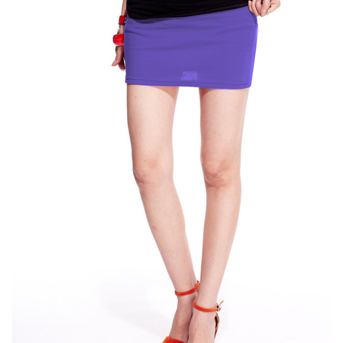 Ladies Elastic Waistline Close-Fitting Straight Mini Skirt Purple XS