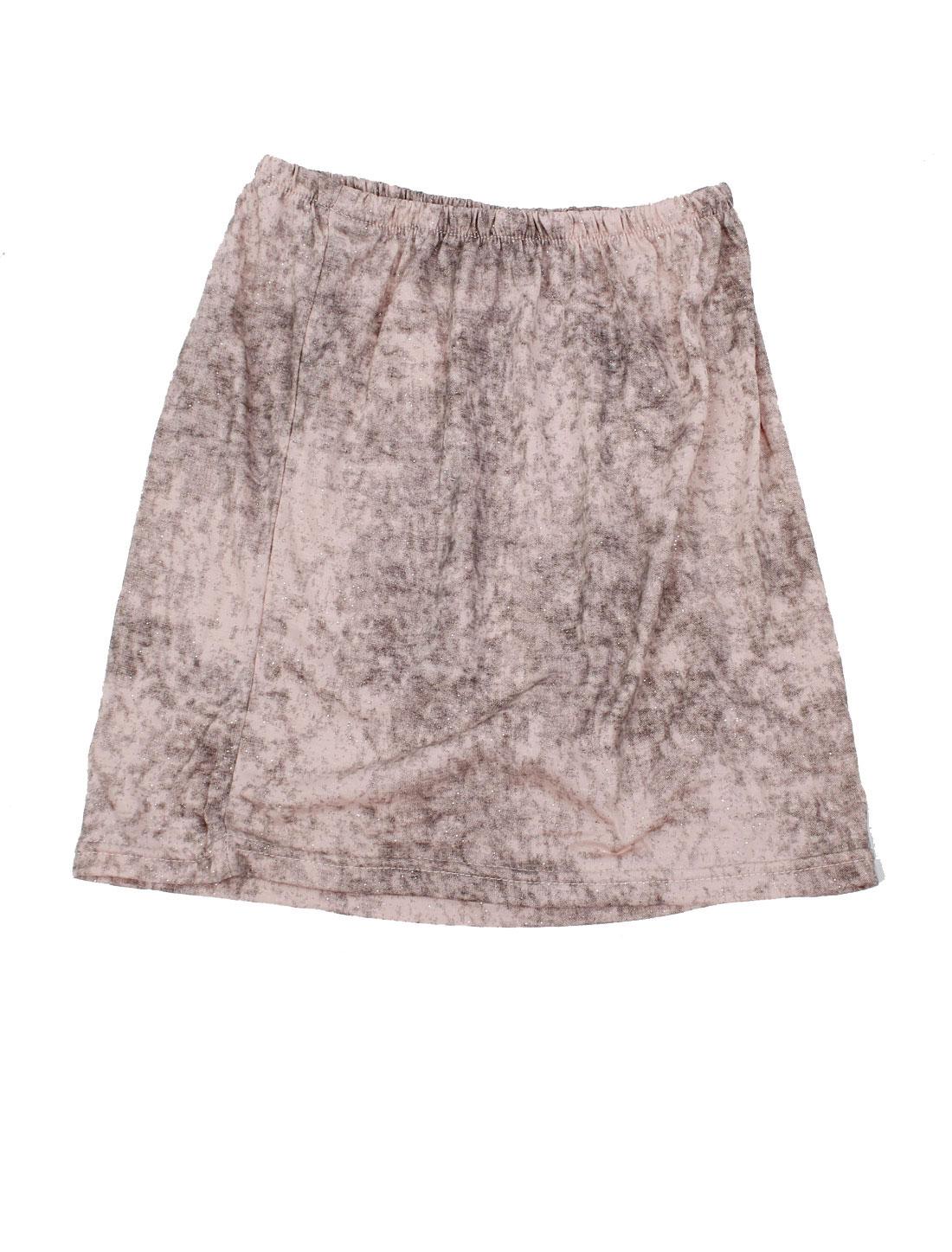 Ladies Elastic Waistline Close-Fitting Straight Mini Skirt Pink XS