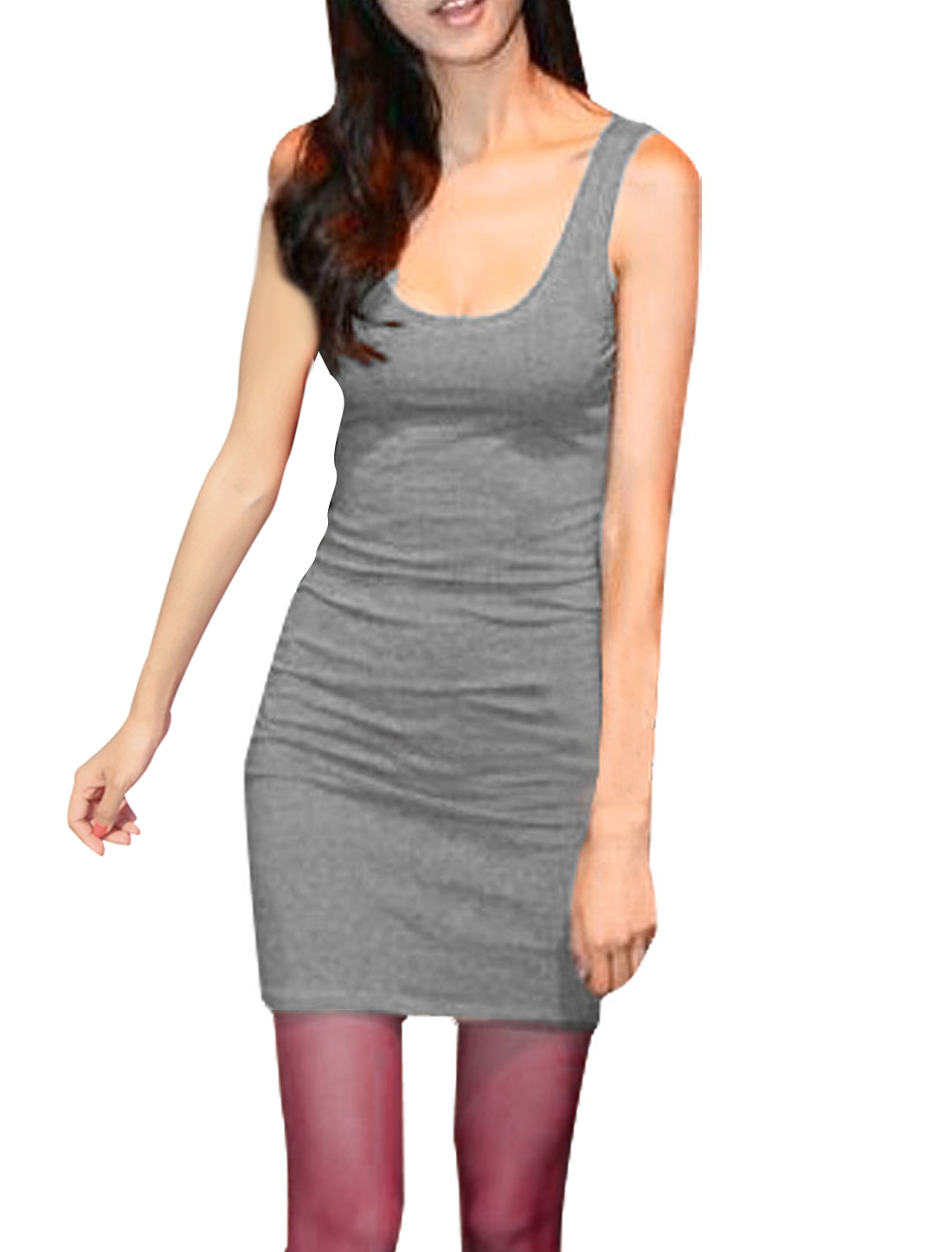 Solid Gray Sleeveless Slim Mini Dress XS for Ladies