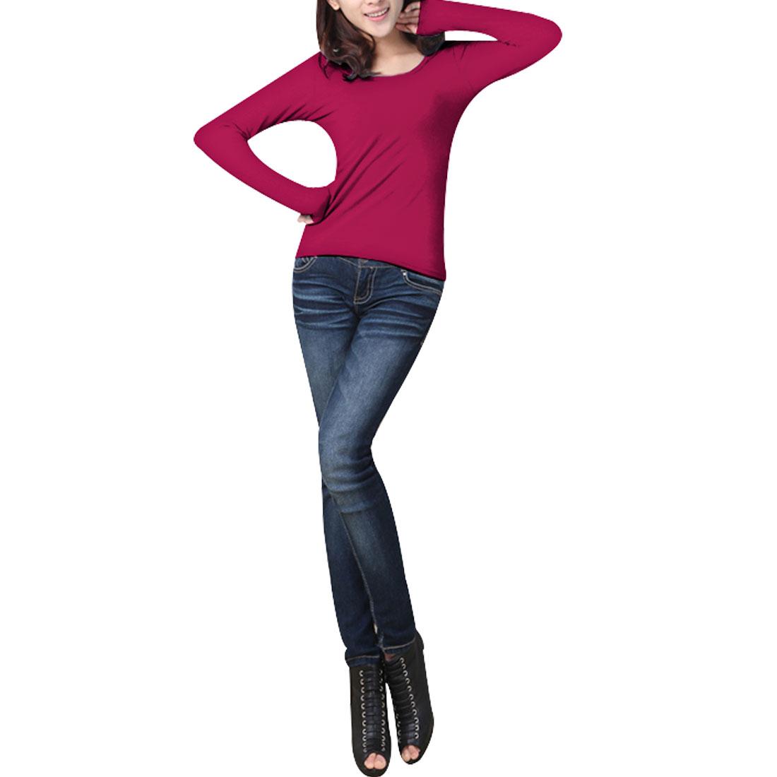 Women Sumemr Charming Double U Neck Solid Fuchsia T-Shirt Blouse XS