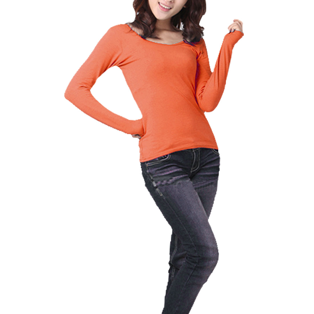 Koren Style Pullover Formfitting Basic T-Shirt Orange XS for Woman