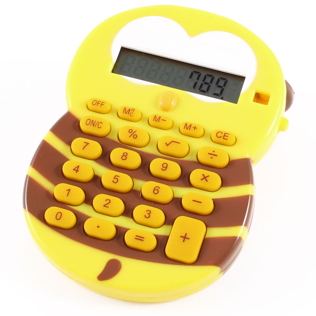 Yellow Coffee Color 24 Keypad Cartoon Design Hand Electronic Calculator for Kids