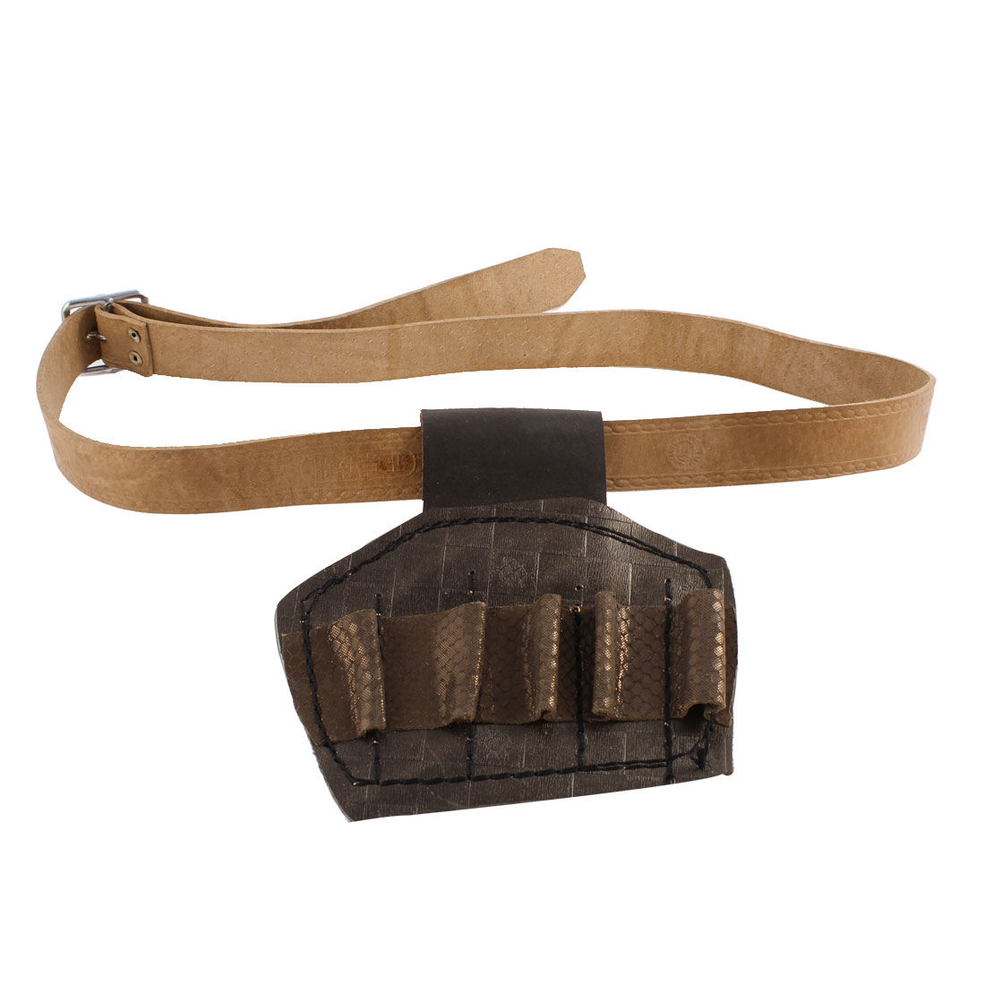 Electrician Single Pin Buckle Faux Leather Waist Tool Belt Light Brown for Man