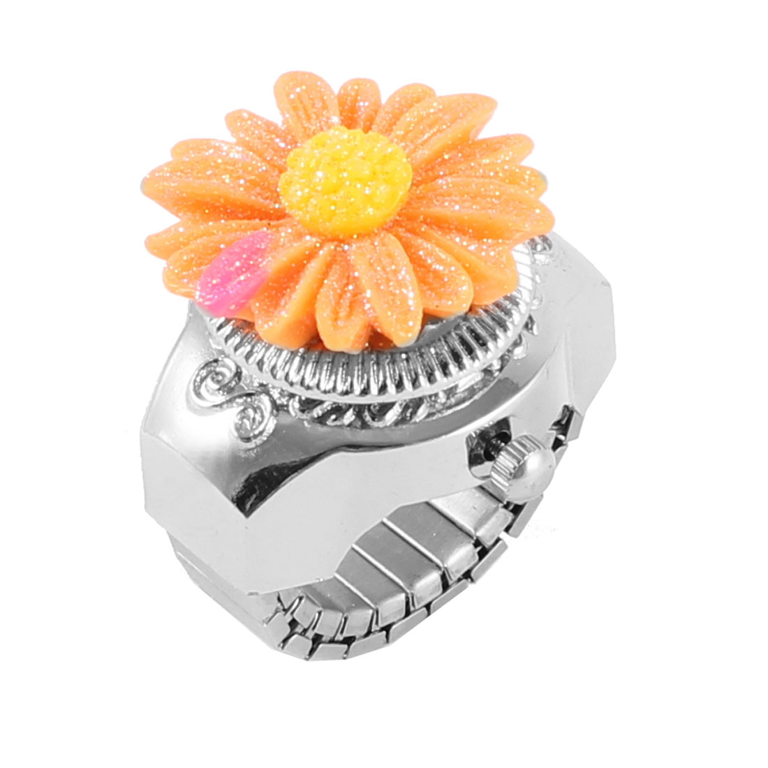 Orange Yellow Sunflower Decor Silver Tone Case Finger Ring Watch for Ladies