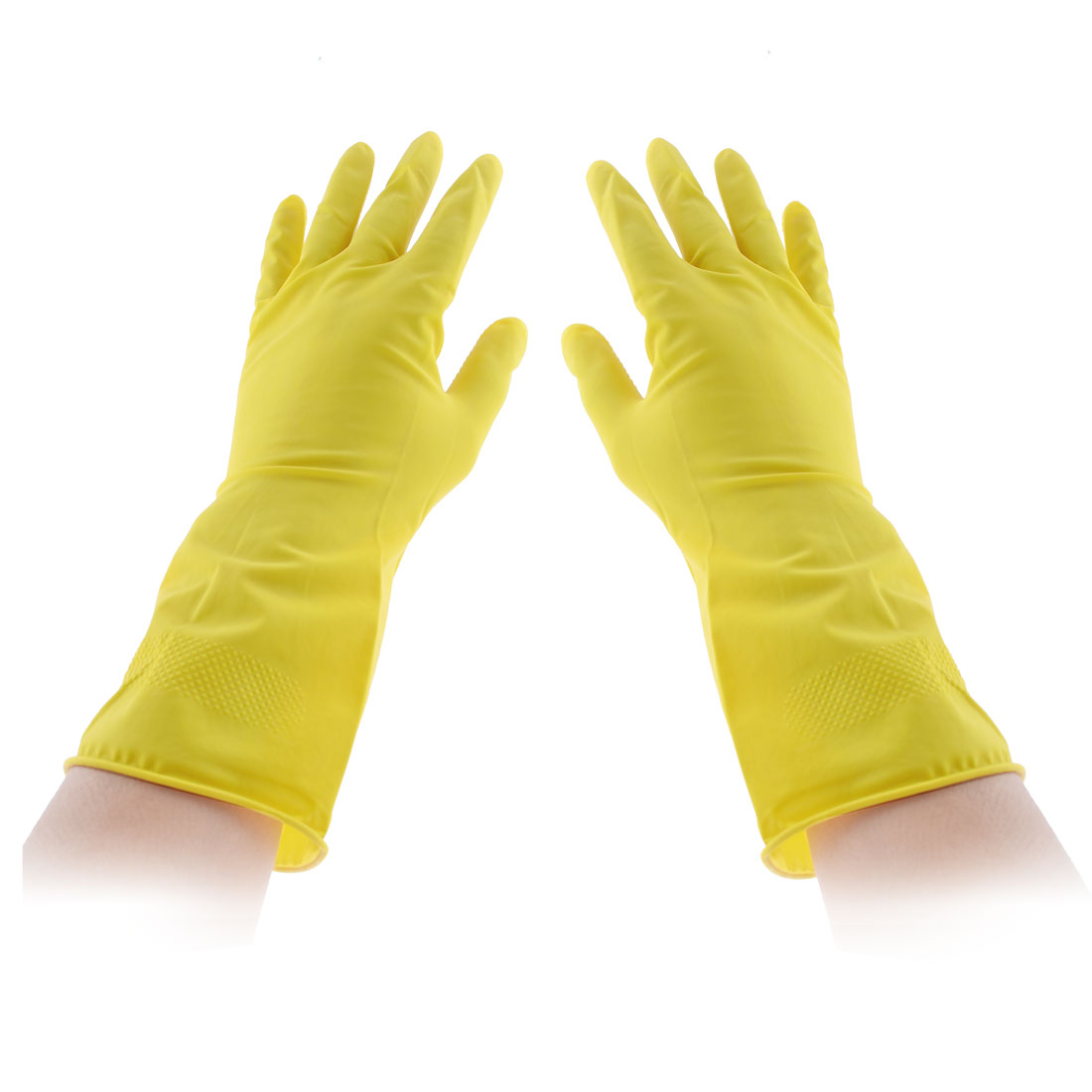 Houseworking Yellow Rubber Dish Clothes Washing Cleaning Gloves Pair