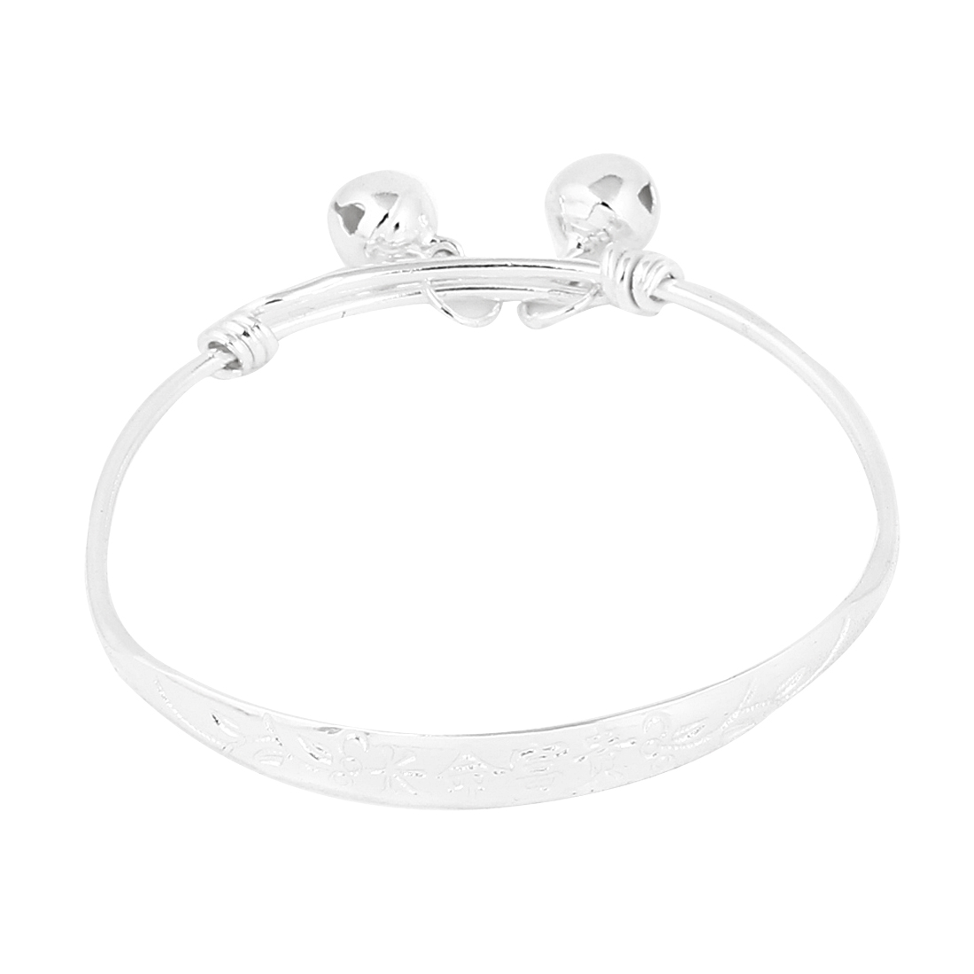 Silver Tone Metal Adjustable Anklet Bangle w Small Bell for Baby