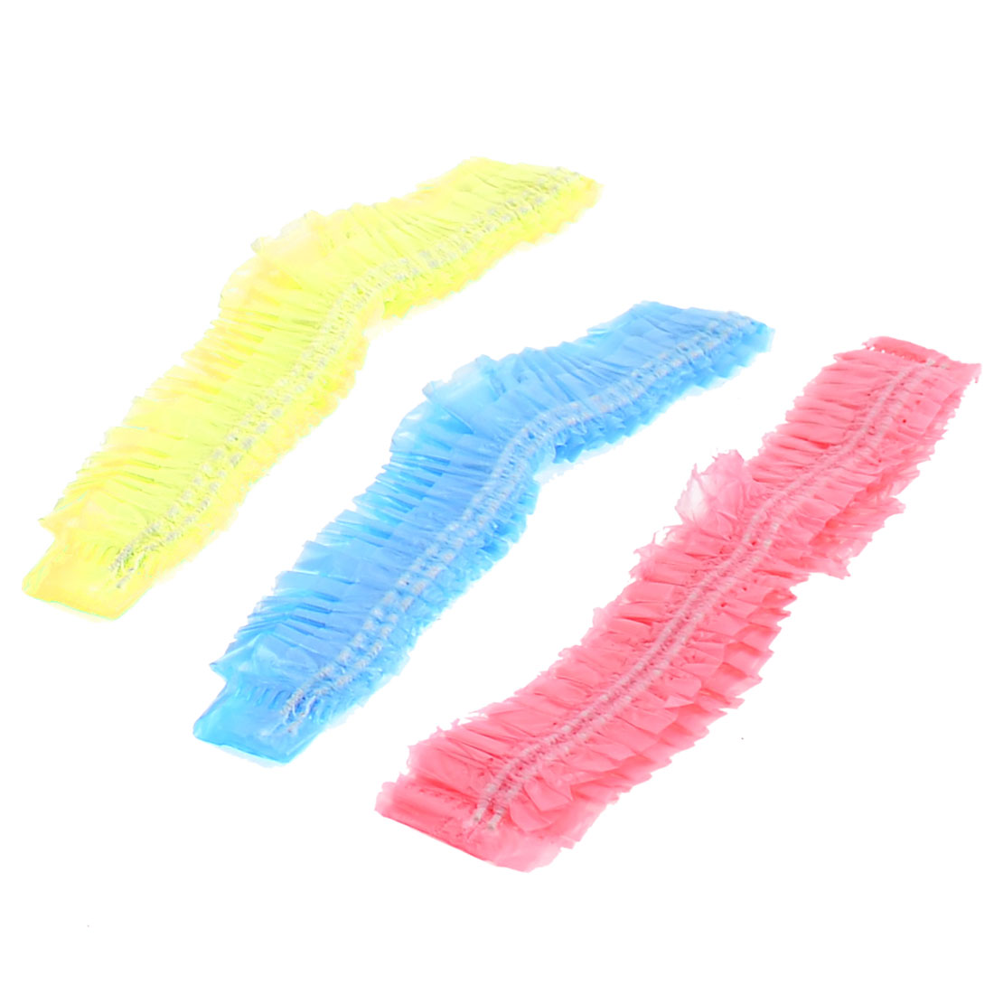 3 Pcs Assorted Color Plastic Elastic Disposable Shower Bathing Cap