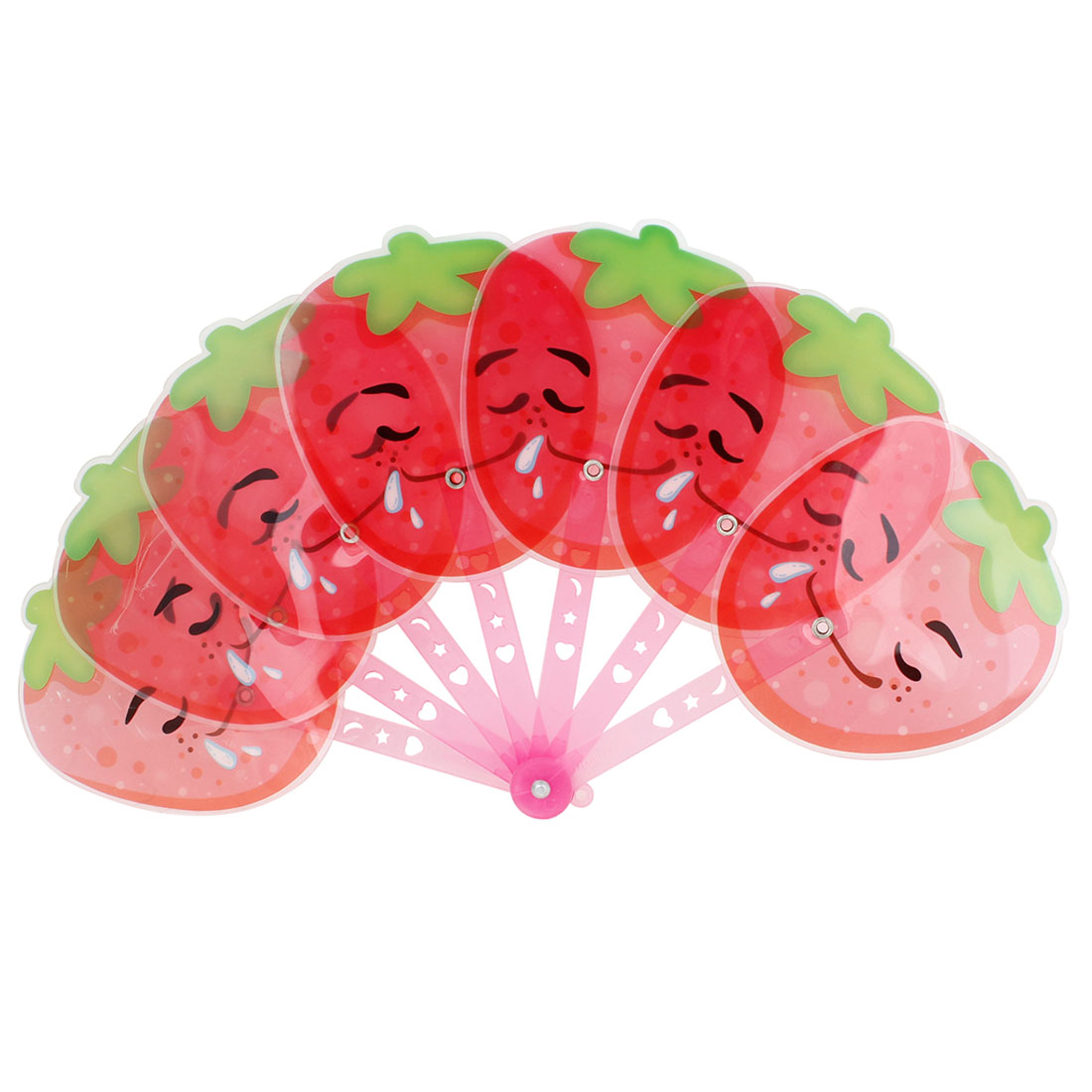 Red Foldable Smiling Strawberry Shaped Pink Handle Plastic Hand Fan