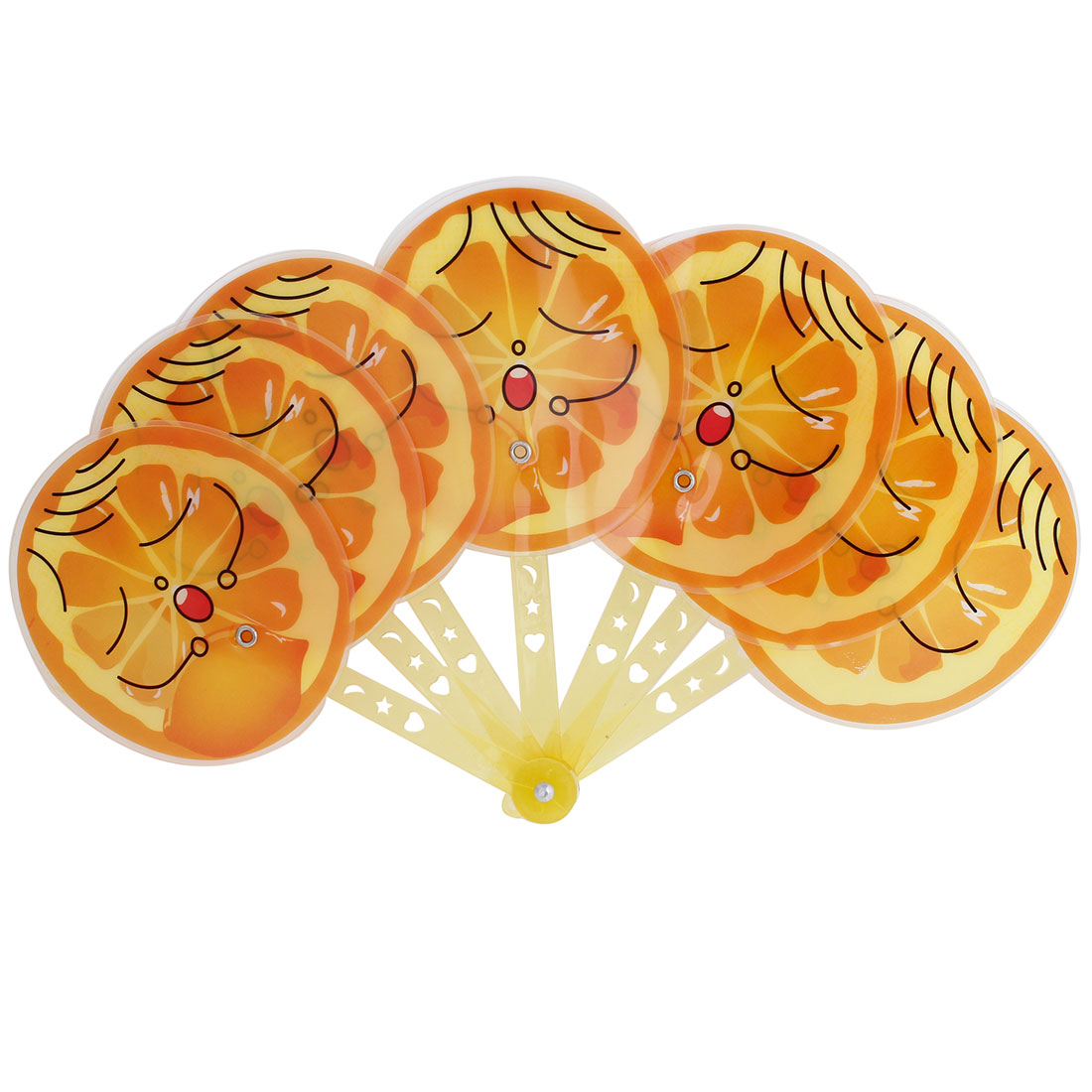 Yellow Plastic Handle Cartoon Expression Fruit Orange Shaped Folable Hand Fan