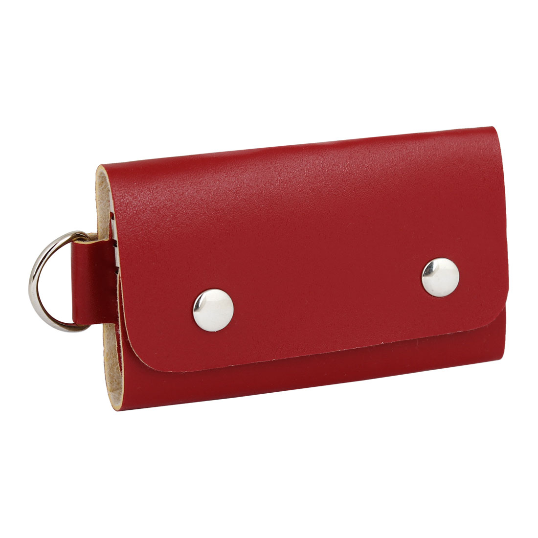 Press Stud Button Faux Leather Key Bag Holder Case Storage Red
