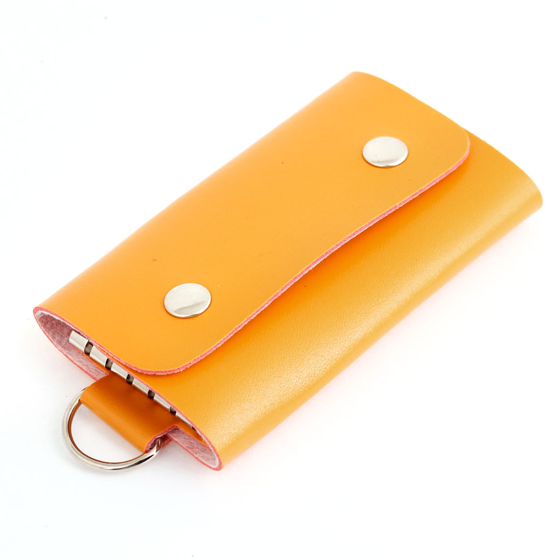 Orange Faux Leather Press Stud Button Key Holder Keychain Bag