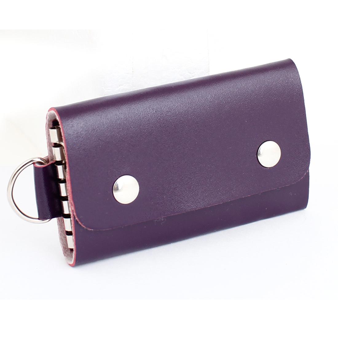 Portable Faux Leather Key Bag Keychain Holder Case Purse Purple