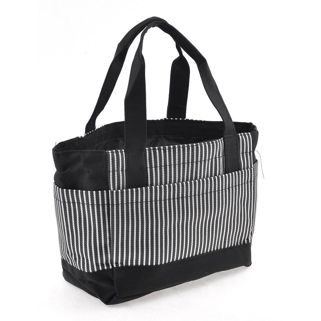 Ladies Stripes Pattern Nylon Shopping Handbag Black White