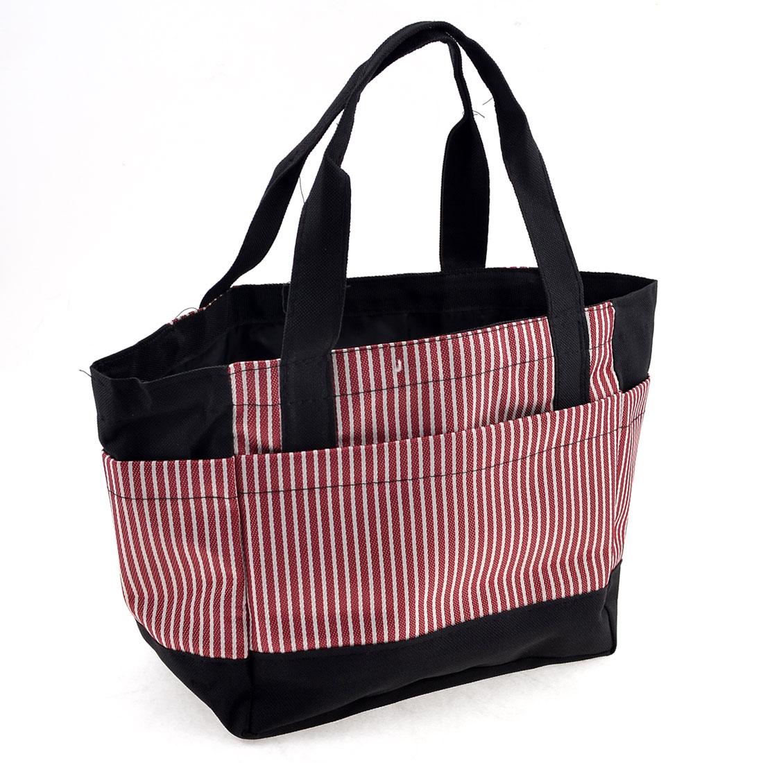 Ladies Stripes Pattern Nylon Shopping Handbag Tote Red White