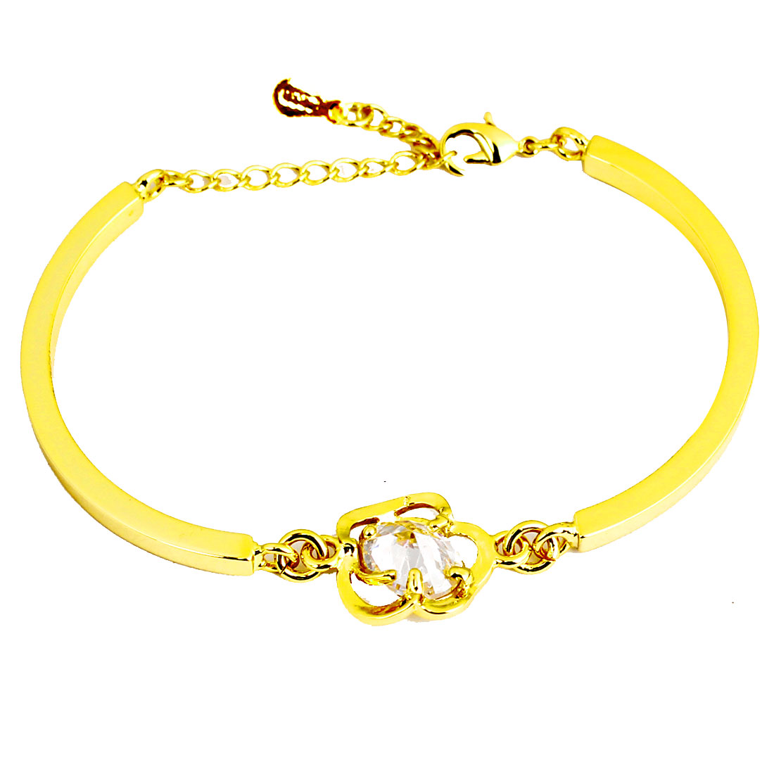 Gold Tone Metal Camellia Decor Bracelet Bangle for Women Ladies