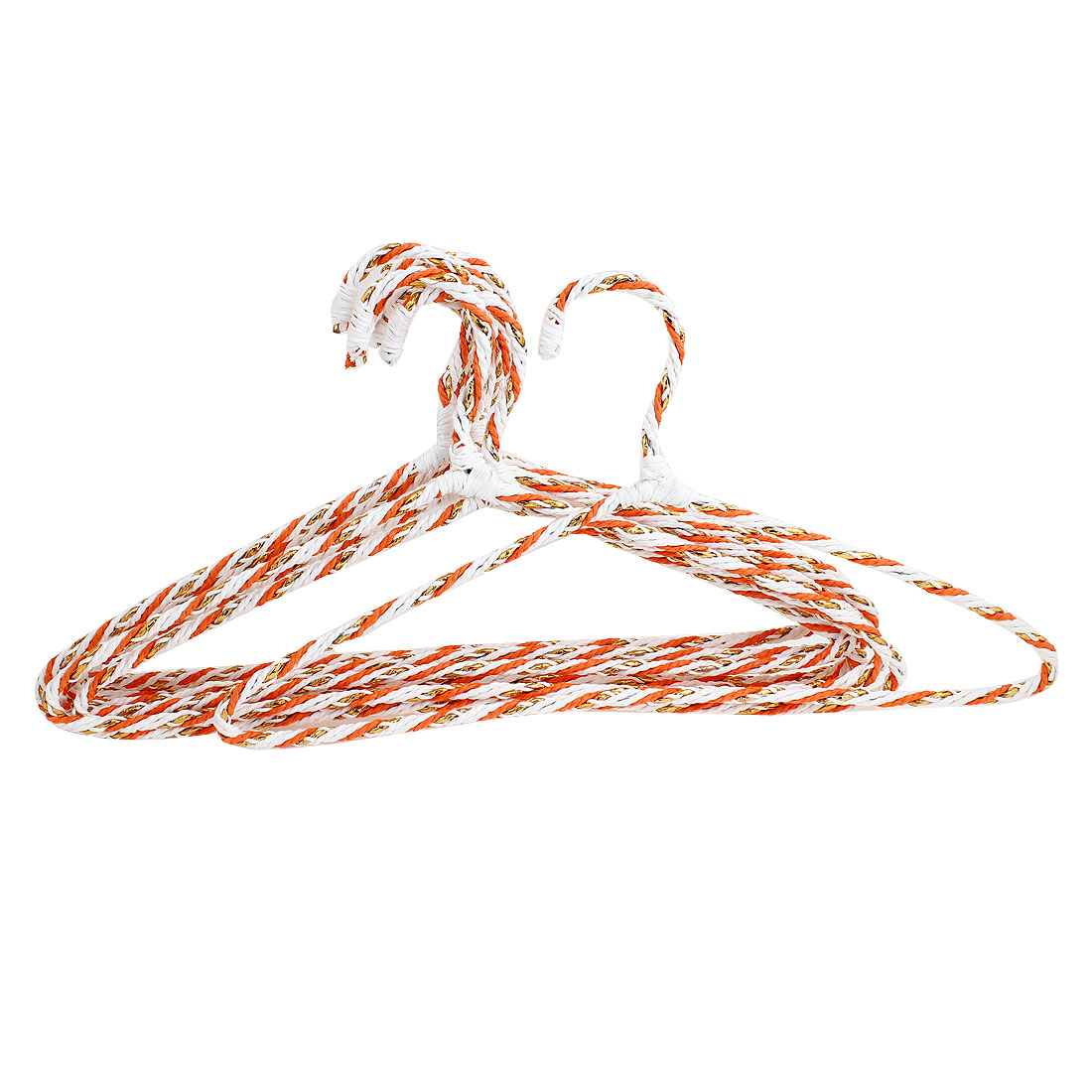 Nylon Wrapped Metal Hook Orange White Metal Braided Design Coats Hangers 10PCS