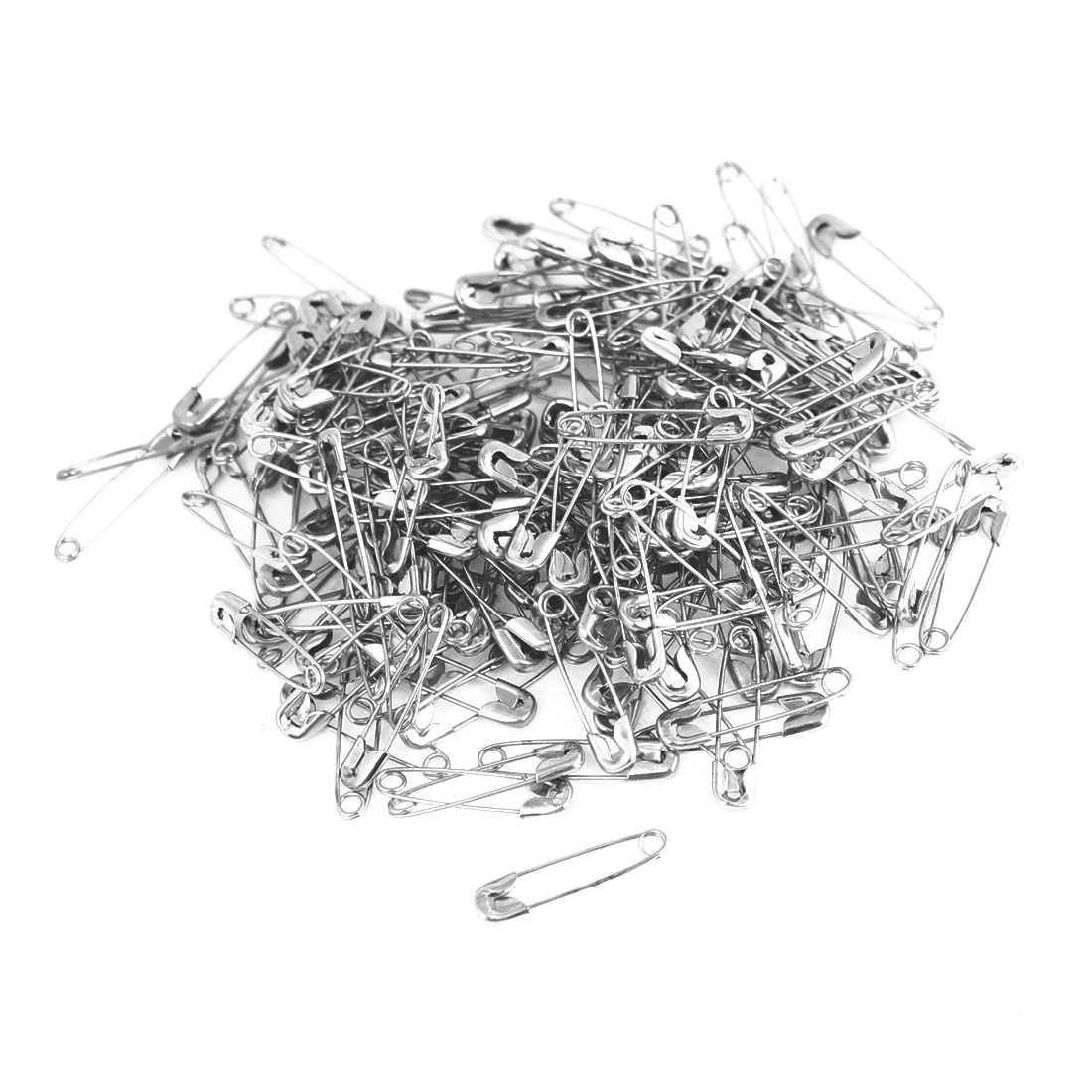 Office Home Mini Sized Coiled Design Silver Tone Safety Pins Replacement 100pcs