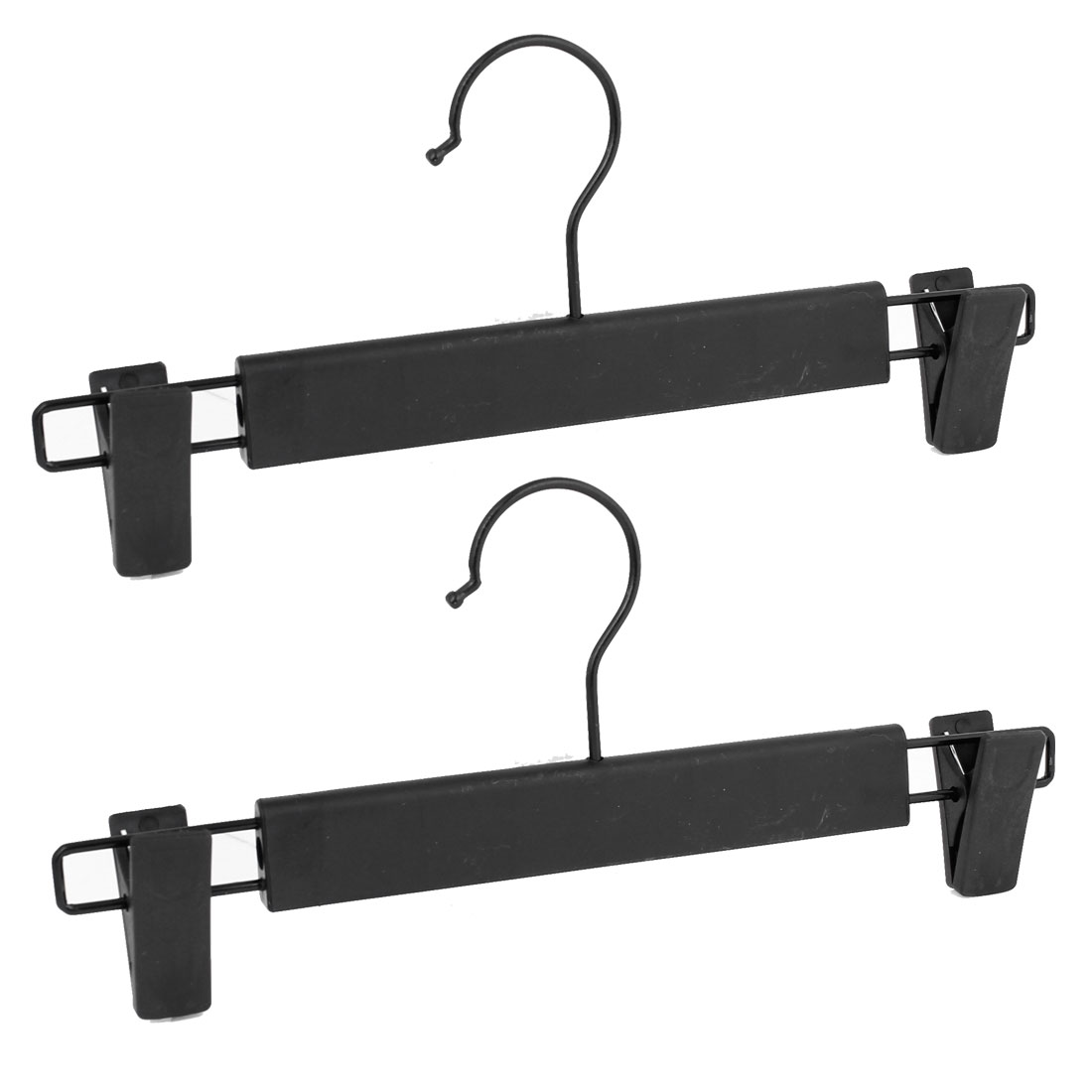 2 Pcs Black Plastic Clips Trousers Pants Non-slip Hangers