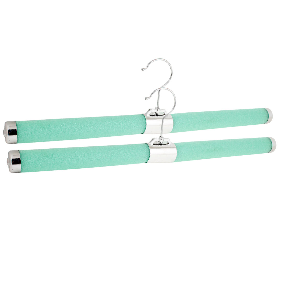 2 Pcs Green Foam Padded Metal Hook Clothes Lingerie Hanger