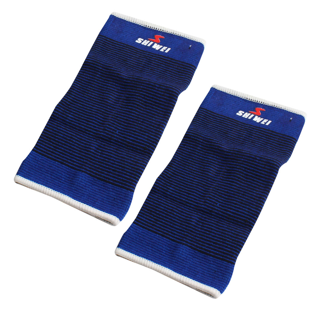 Pair Blue Black Pinstripe Elastic Shin Splint Calf Pullover Support Sleeve