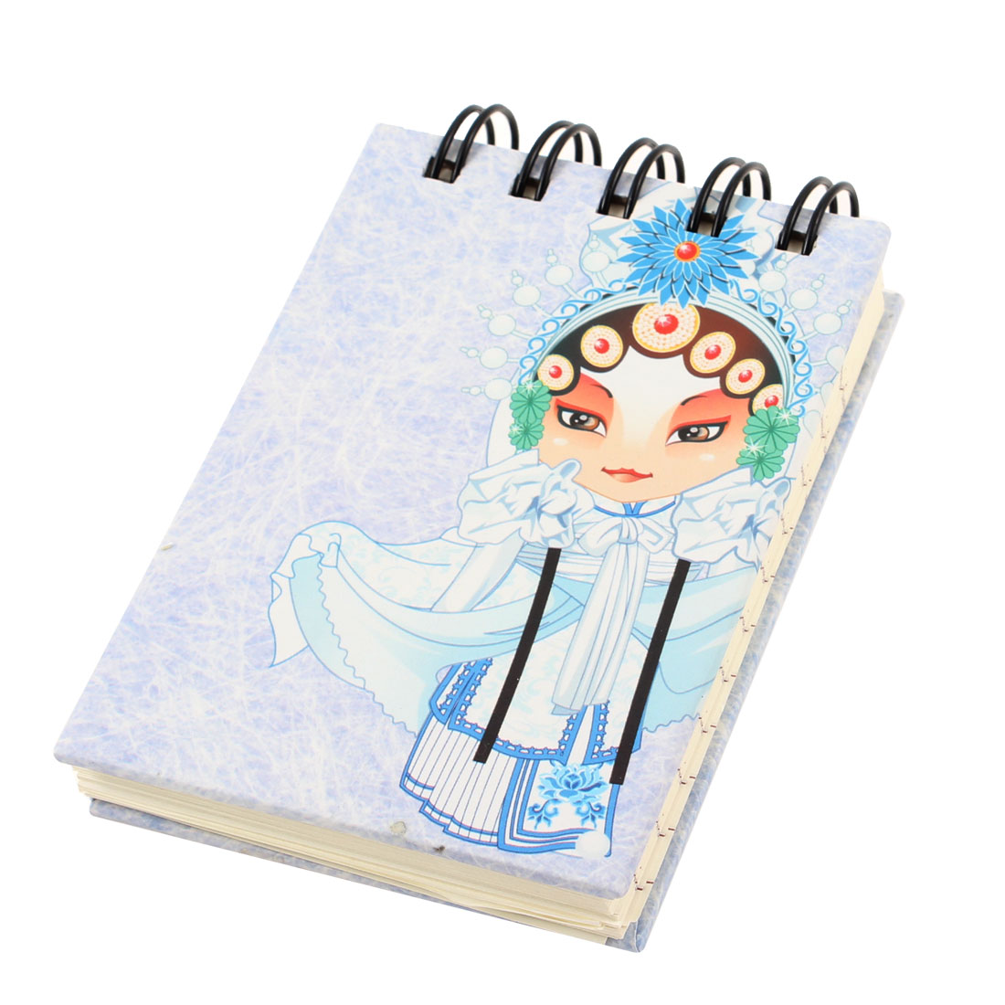 Chinese Style Beijing Opera Character Paper Wire Bound Notebook Pad Light Blue