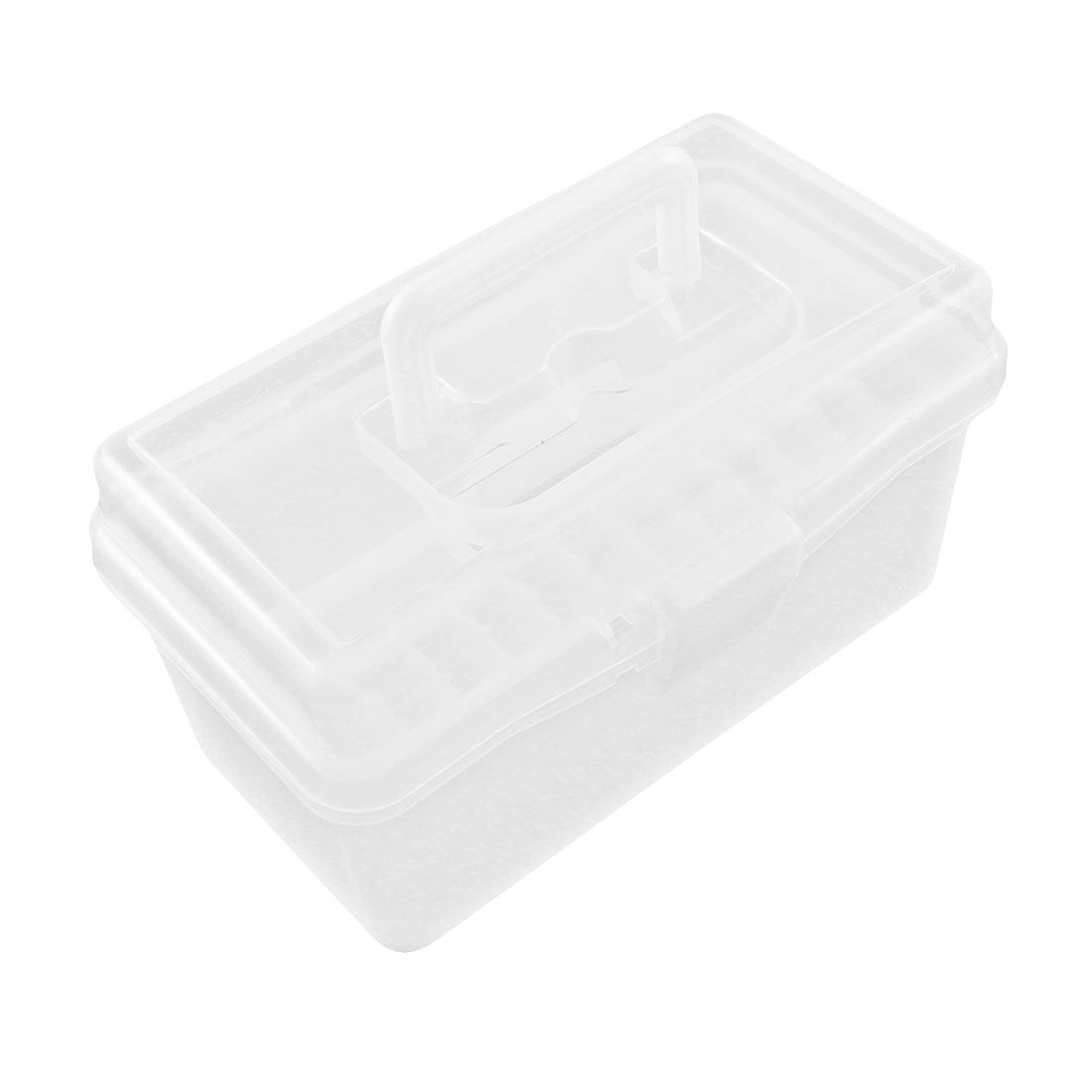 School Plastic Rectangle Double Layers Mini Art Tools Storage Box Case Clear