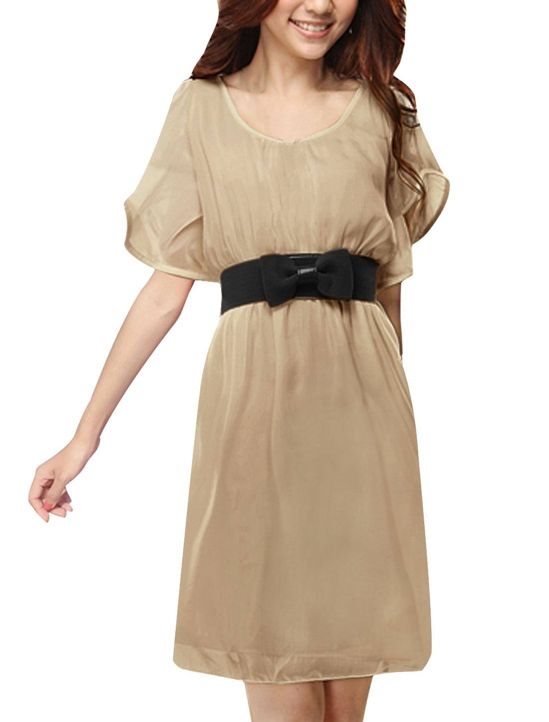 Woman NEW Scoop Neck Ruffled Short Sleeve Solid Beige Above Knee Dress L
