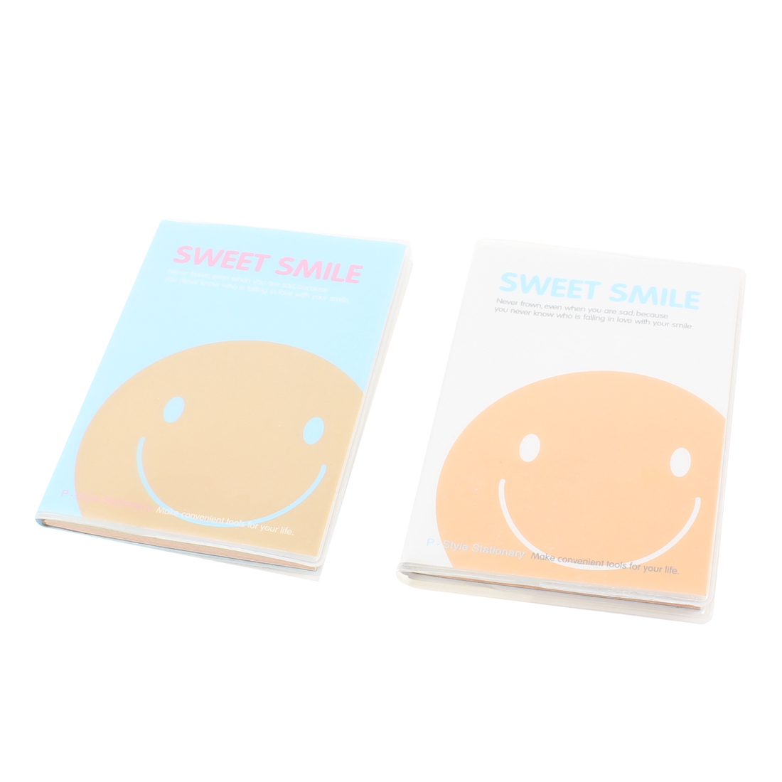 2 Pcs Smile Face Pattern Waterproof Plastic Cover Assorted Color Paper Notebook