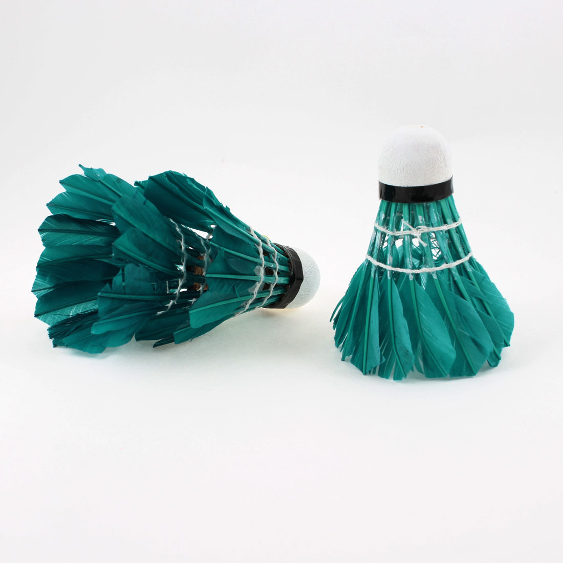3 Pcs White Foam Bottom Teal Faux Feather Sports Badminton Shuttlecocks