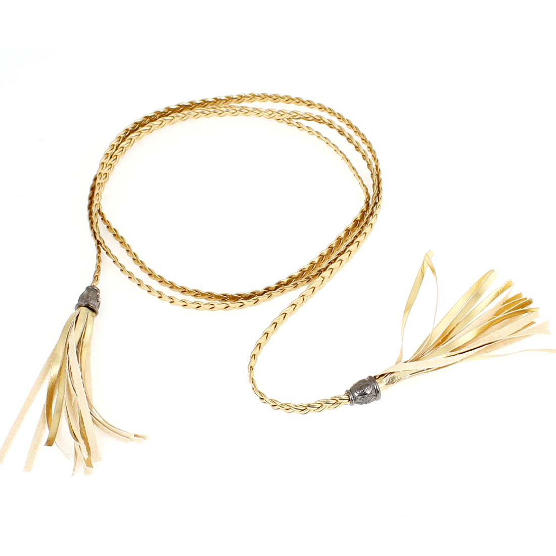 Lady Tassel Detailing Beads Accent Faux Leather Waist Belt Gold Tone