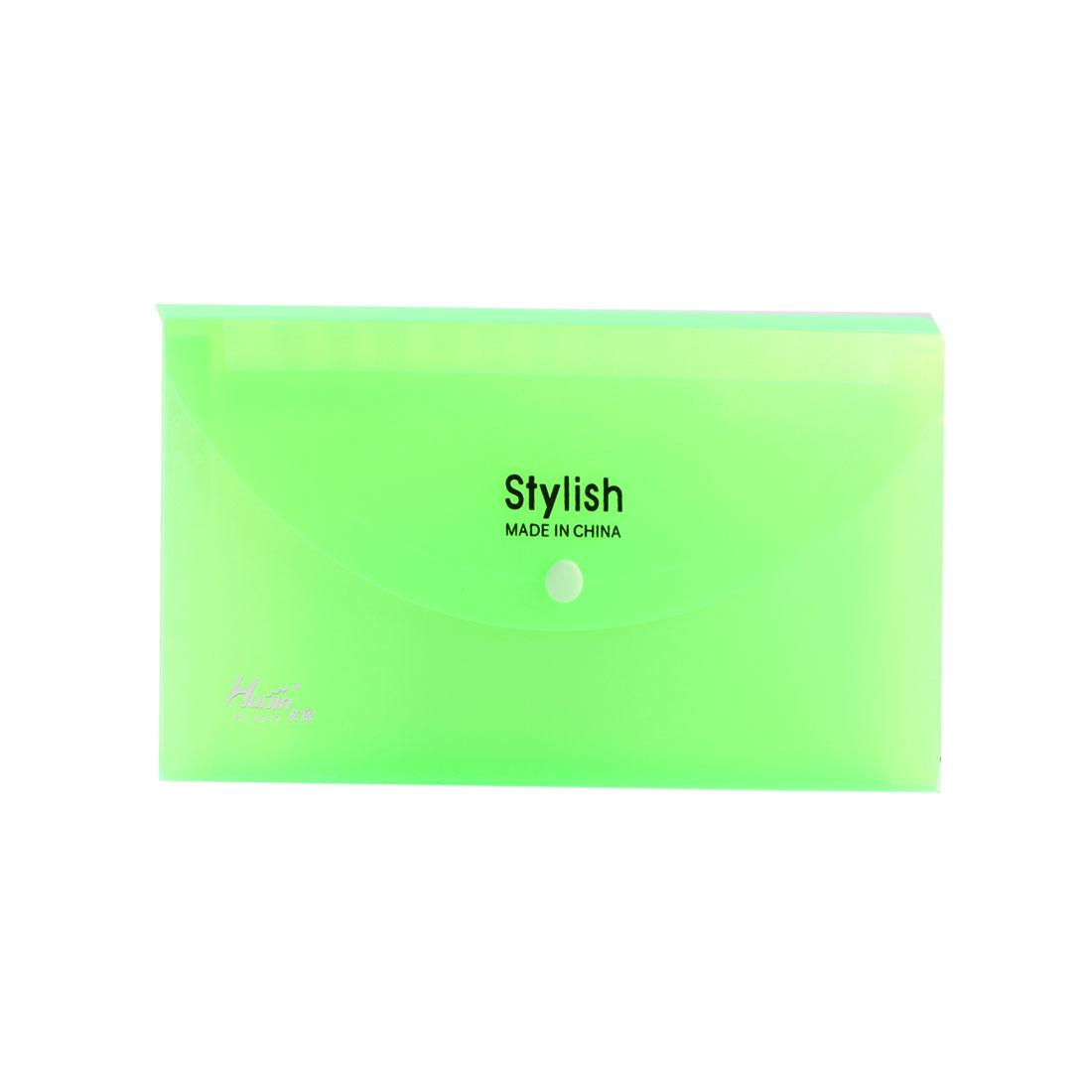 Plastic 13 Pockets Press Stud Receipt Coupon Organizer File Box Clear Green
