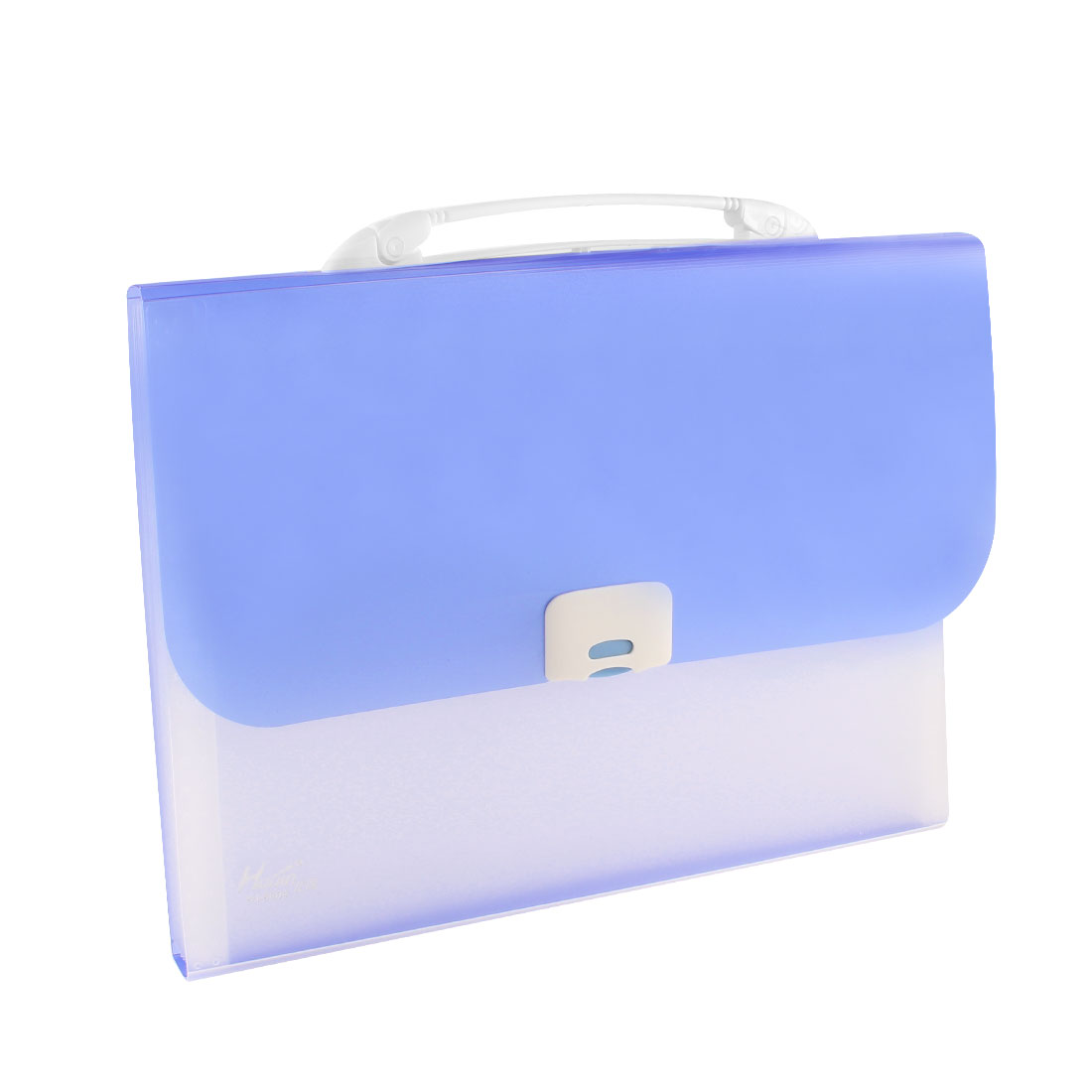 Clear 13 Pockets Press Closure Blue Plastic Receipt Coupon Organizer File Box