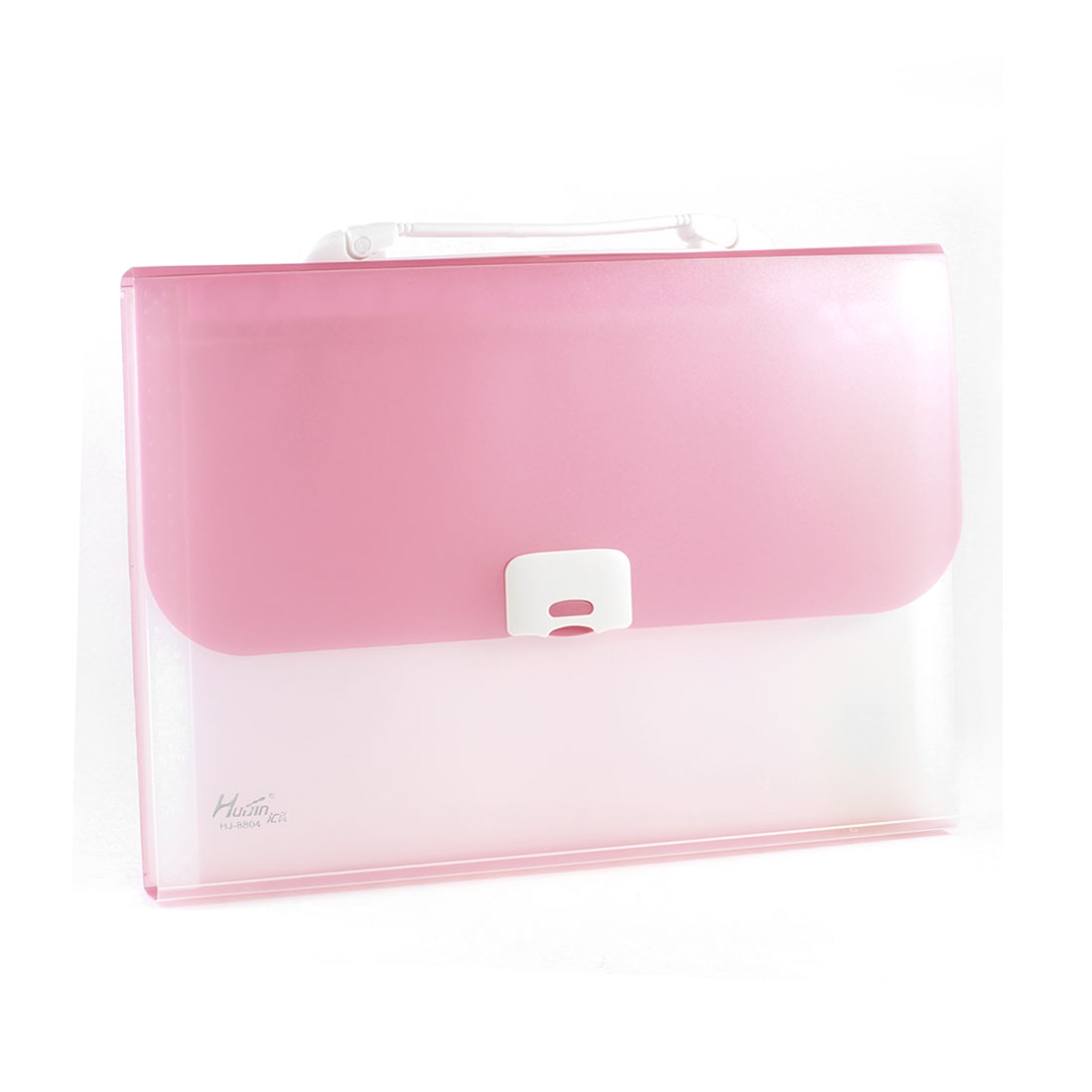 Clear 13 Pockets Press Closure Pink Plastic Receipt Coupon Organizer File Box