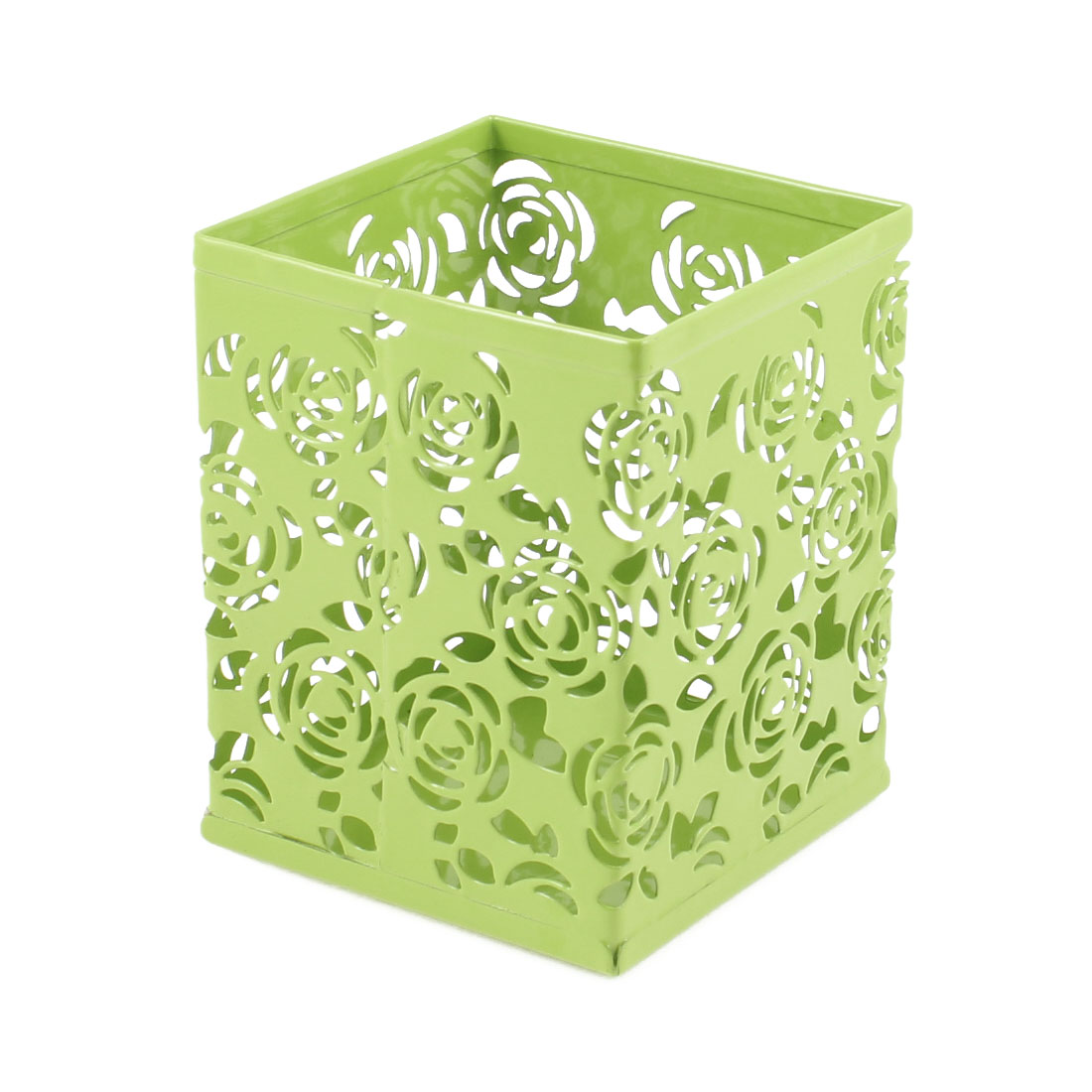 Light Green Hollow Rose Flower Square Metal Pen Pencil Pot Holder Organizer