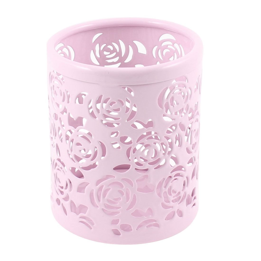 Metal Flower Pattern Hollow Rose Pen Pencil Pot Holder Organizer Light Pink