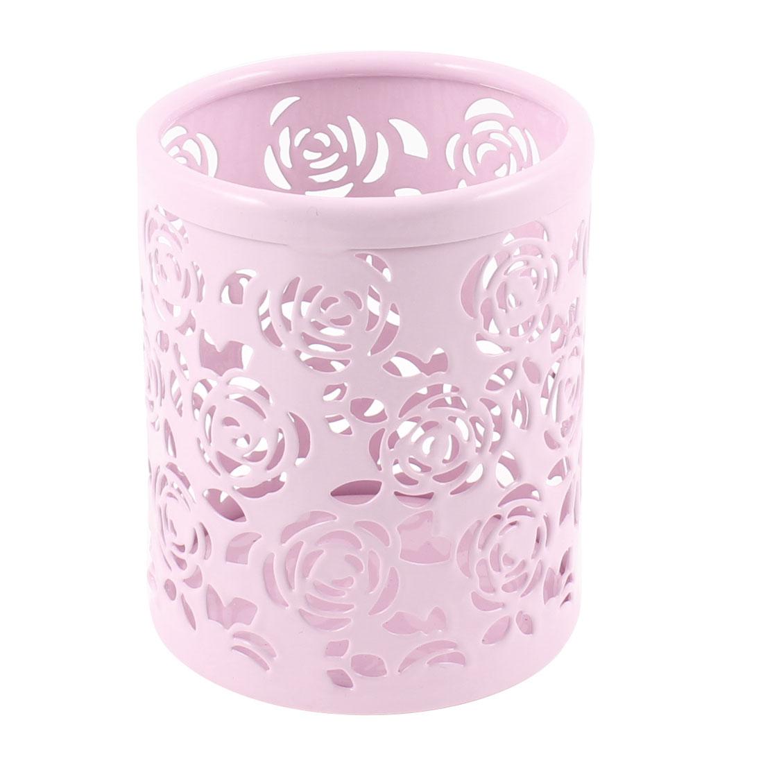 Metal Flower Pattern Hollow Rose Pen Pencil Pot Holder Organizer Light Pink