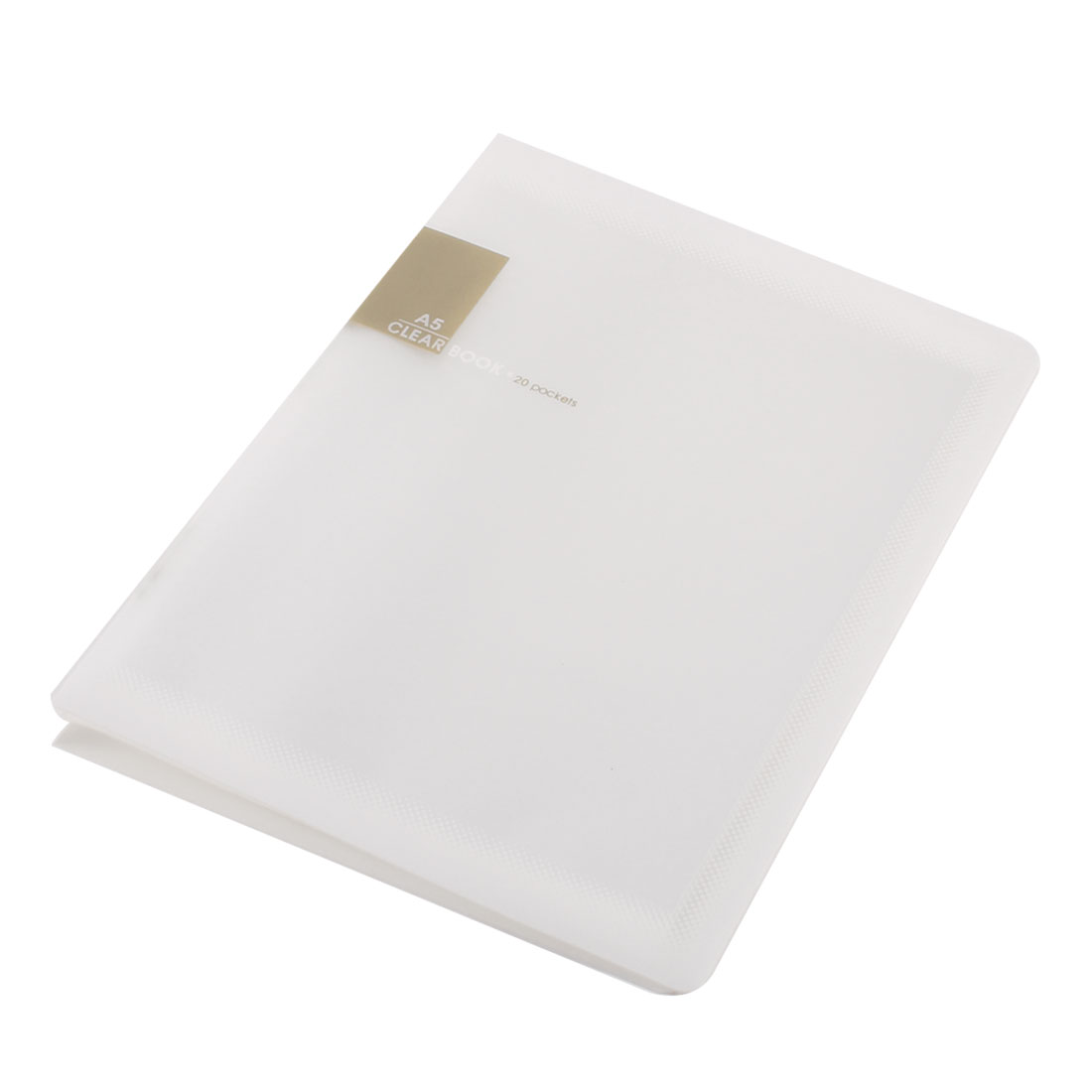 White Plastic 20 Pockets File Book Document Folder Holder for A5 Papers