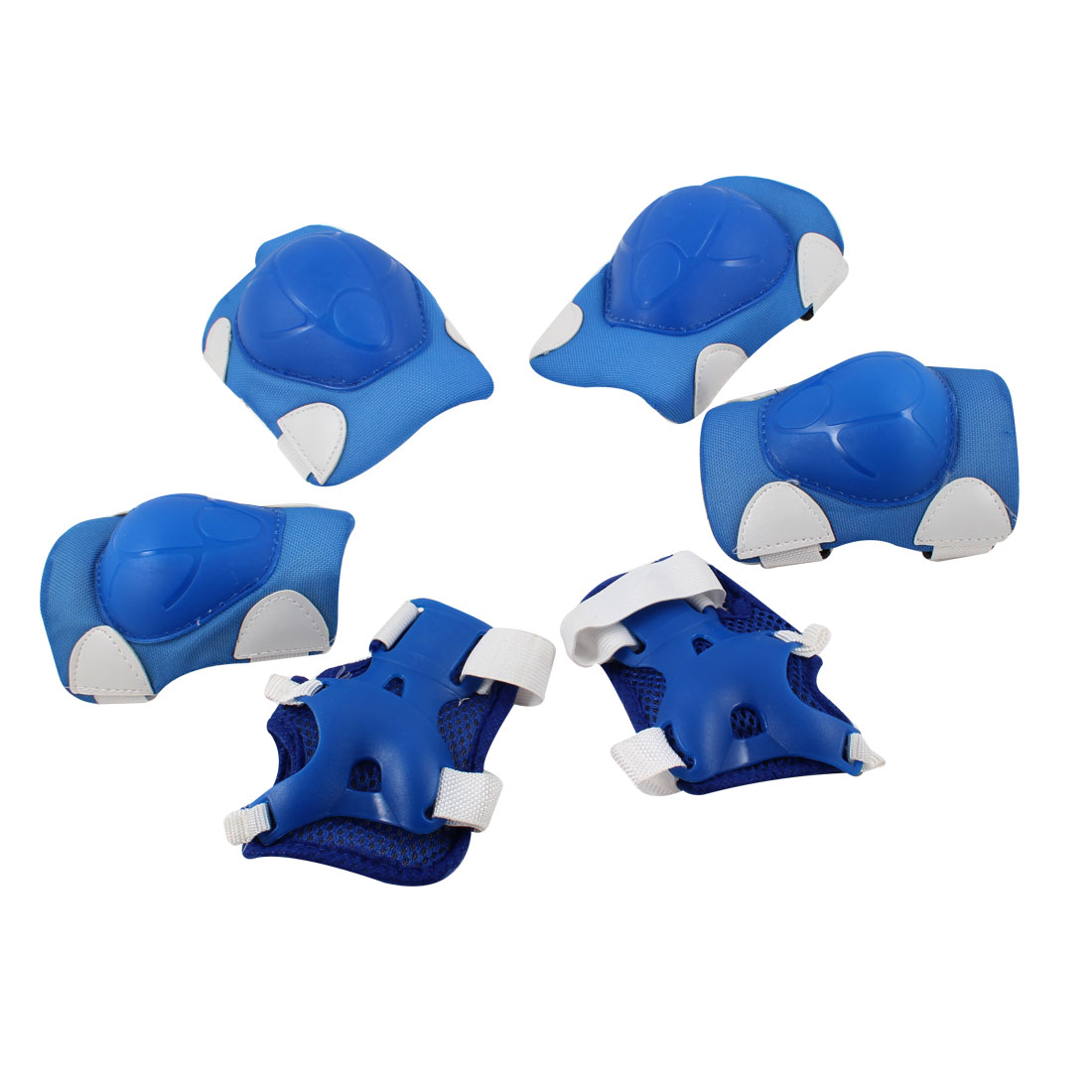 Roller Skating Knee Palm Elbow Guard Support Pad Blue White 6 in 1 Set for Kids