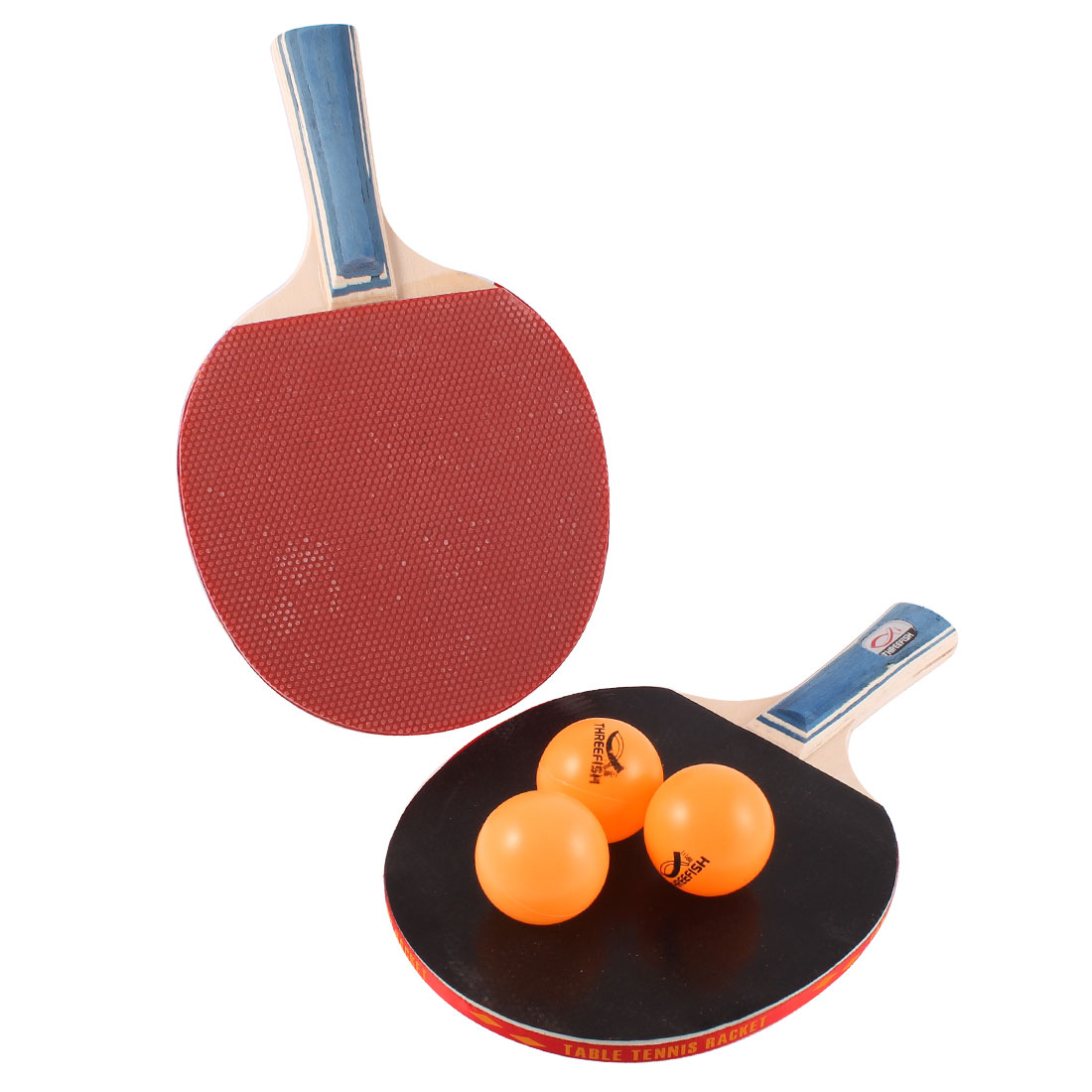 Recreational Table Tennis Wooden Penhold Racket Bat Paddle w 3 Balls Black Red Pair