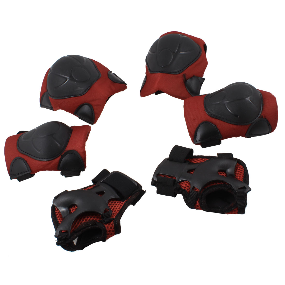 Roller Skating Knee Palm Elbow Guard Support Pad Red Black 6 in 1 Set for Kids