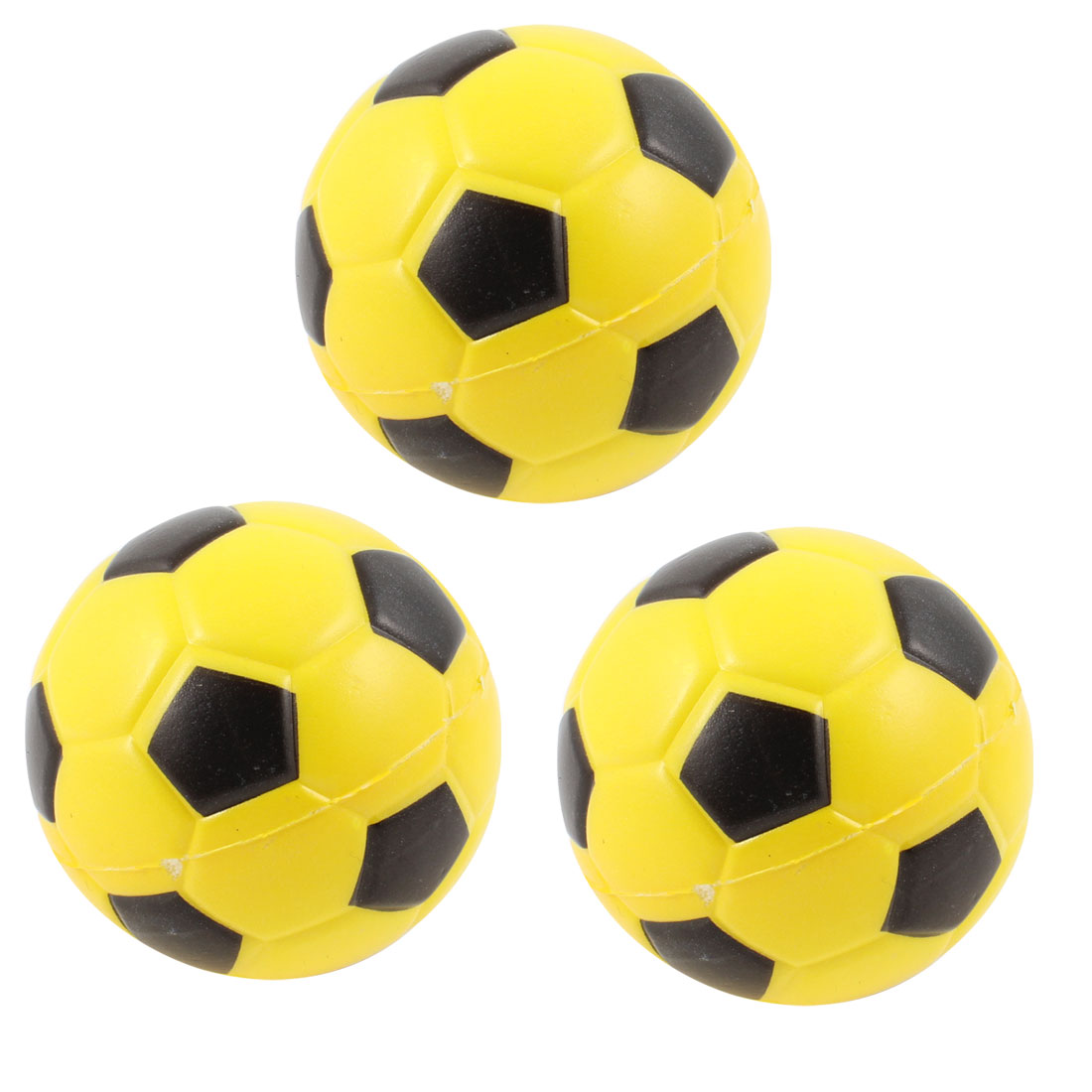 3 Pcs Yellow Black Sponge Mini Football Playing Toy Gift for Children