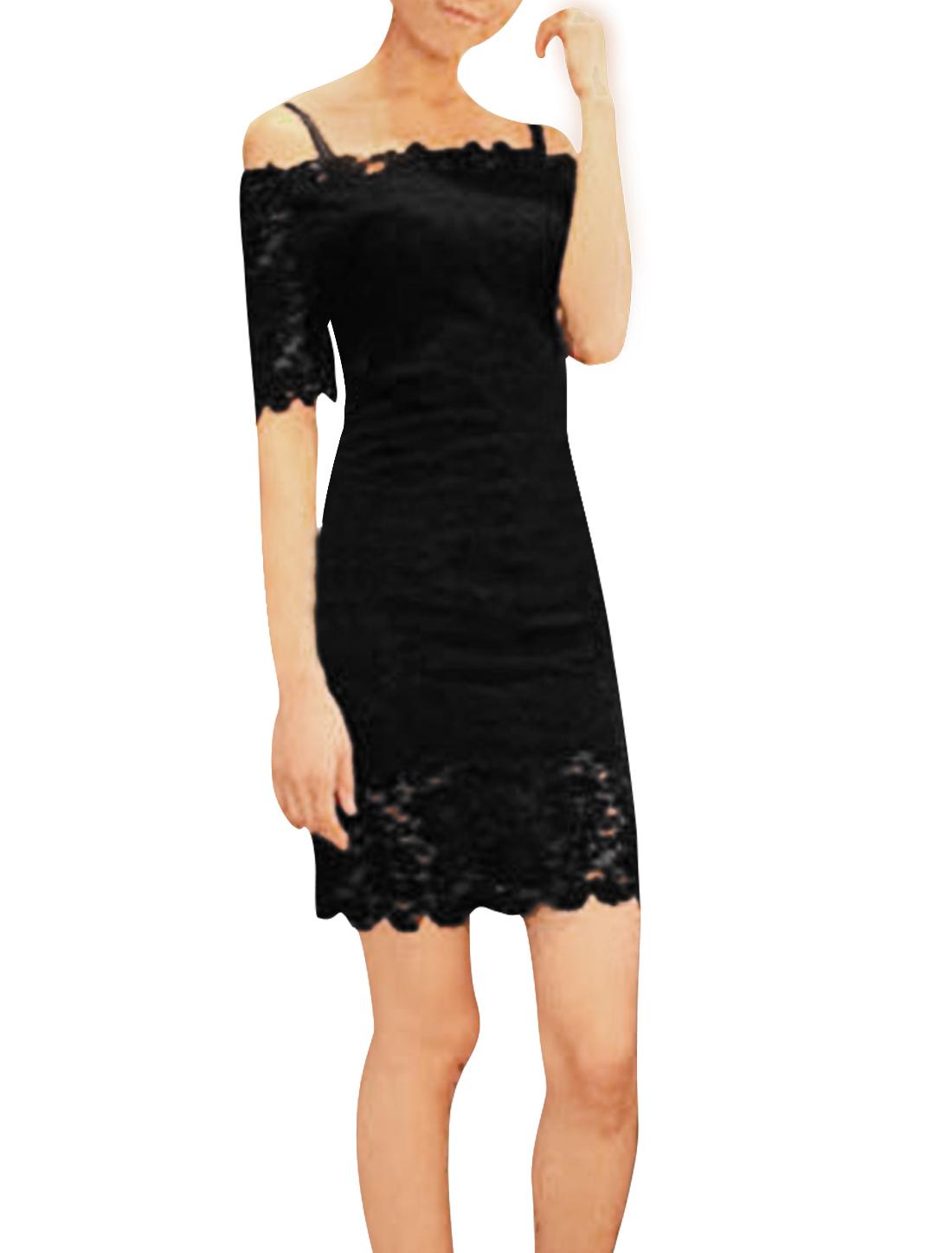 Ladies Adjustable Spaghetti Straps Design Black Lace Covered Mini Dress XS