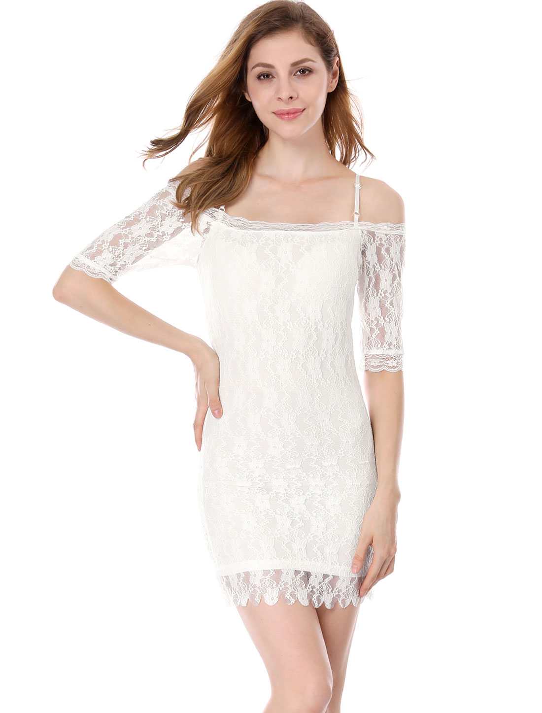 Lady All Over Lace Covered Lined White Slim Fit Mini Dress S