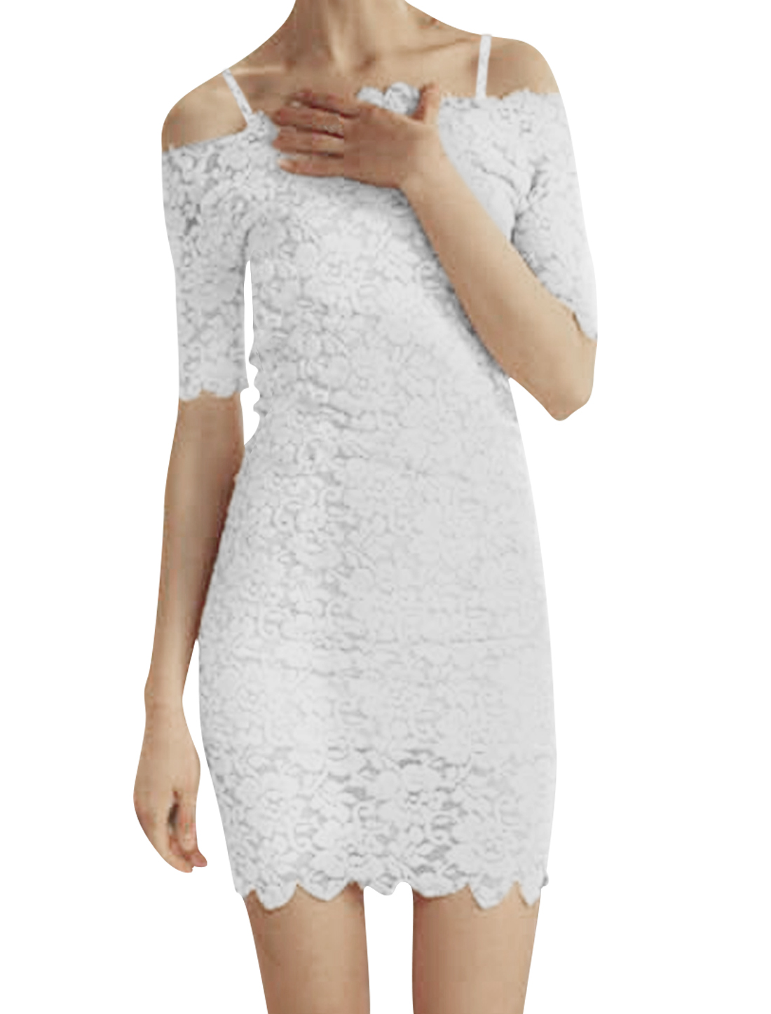 Lady Boat Neck Of-Shoulder Elbow Sleeve Pure White Lace Mini Dress L